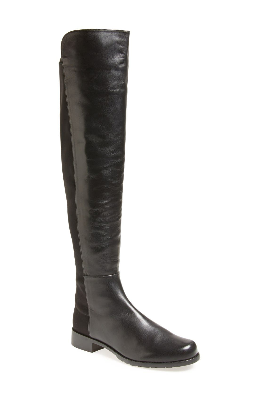 5050 Over the Knee Leather Boot,                             Main thumbnail 1, color,                             BLACK NAPPA