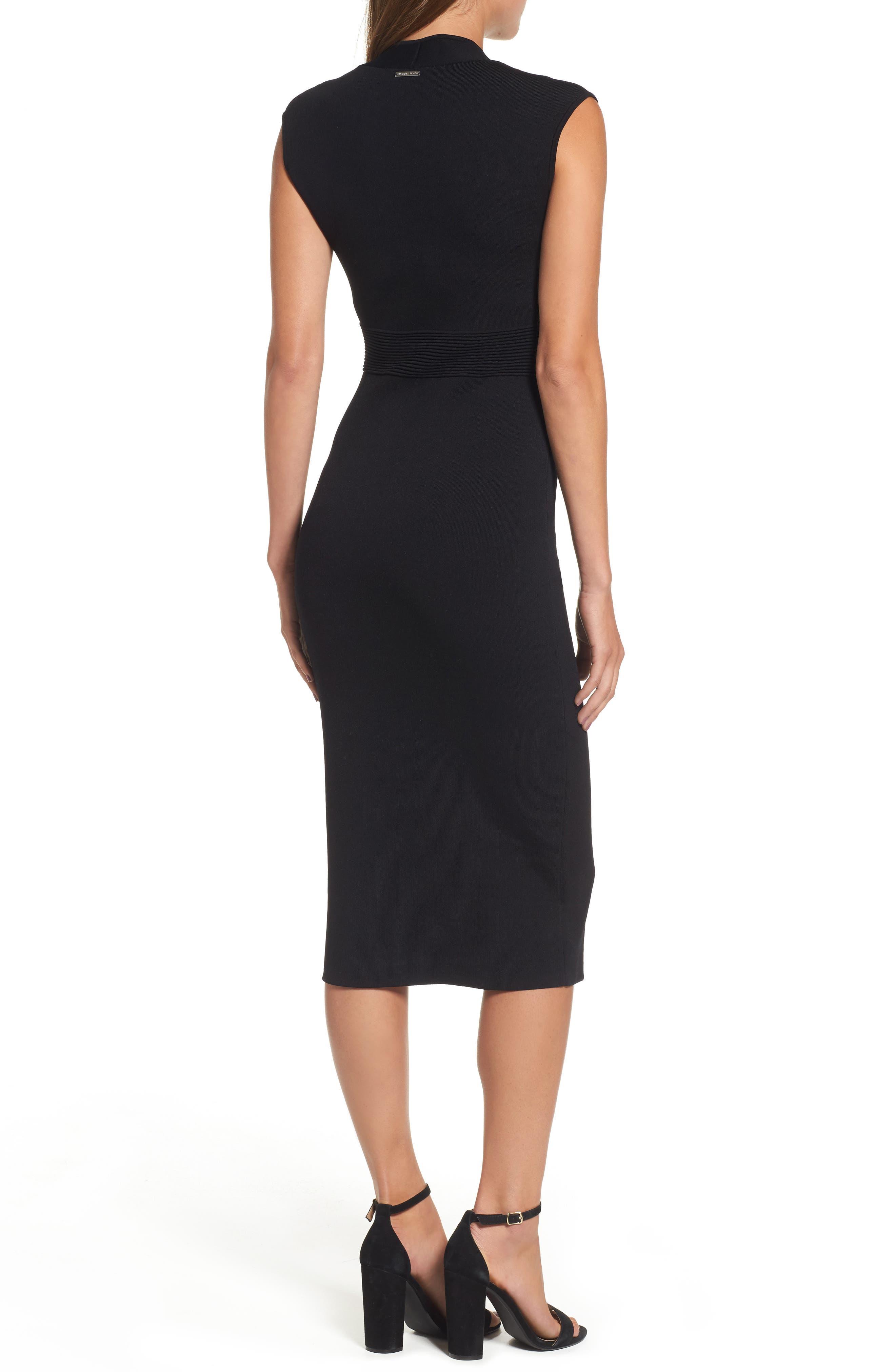 Rib Waist Knit Midi Dress,                             Alternate thumbnail 2, color,                             BLACK