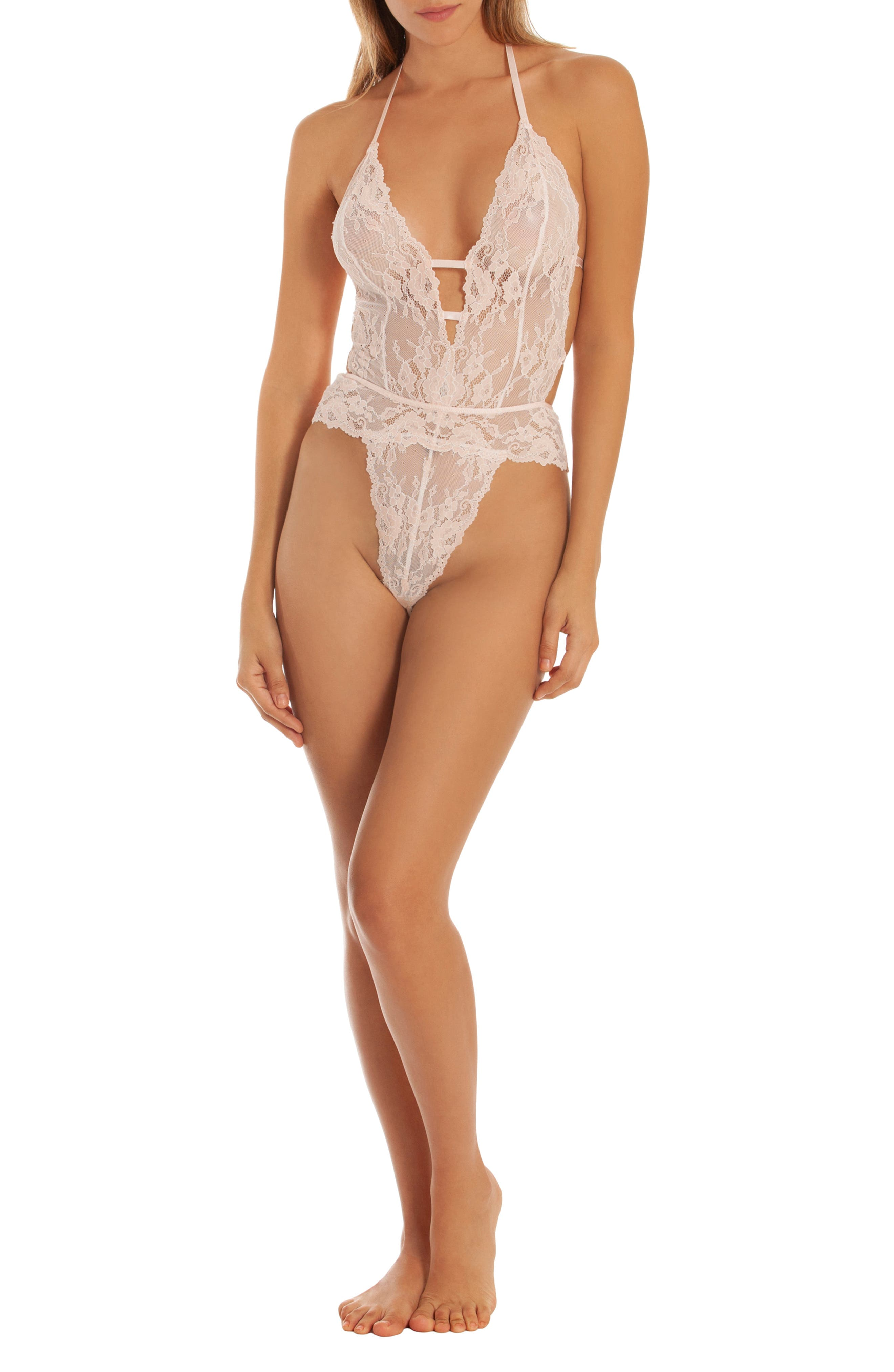 IN BLOOM BY JONQUIL,                             Lace Thong Teddy,                             Alternate thumbnail 3, color,                             ALABASTER PINK