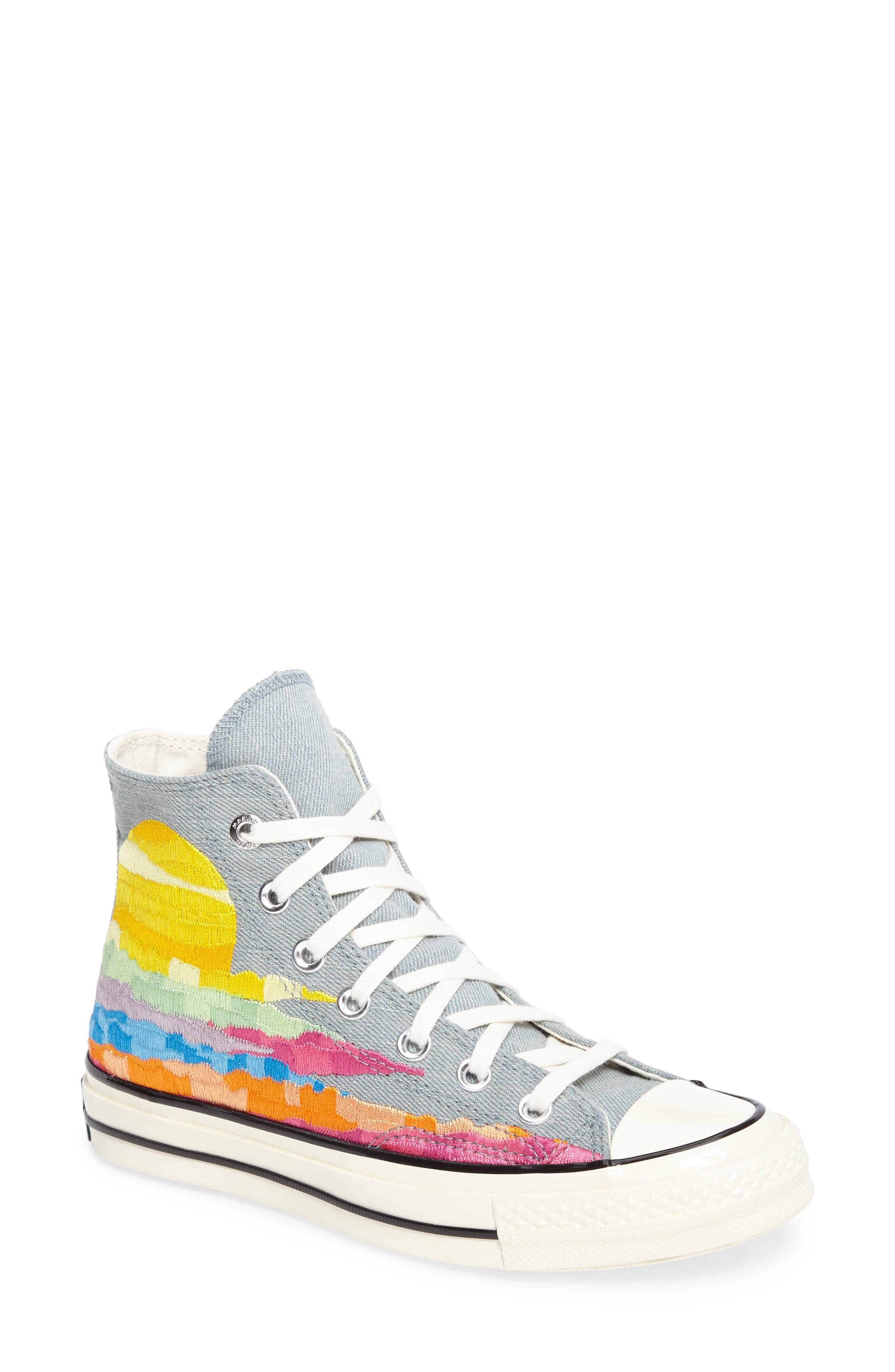 x Mara Hoffman All Star<sup>®</sup> Embroidered High Top Sneaker,                             Main thumbnail 2, color,