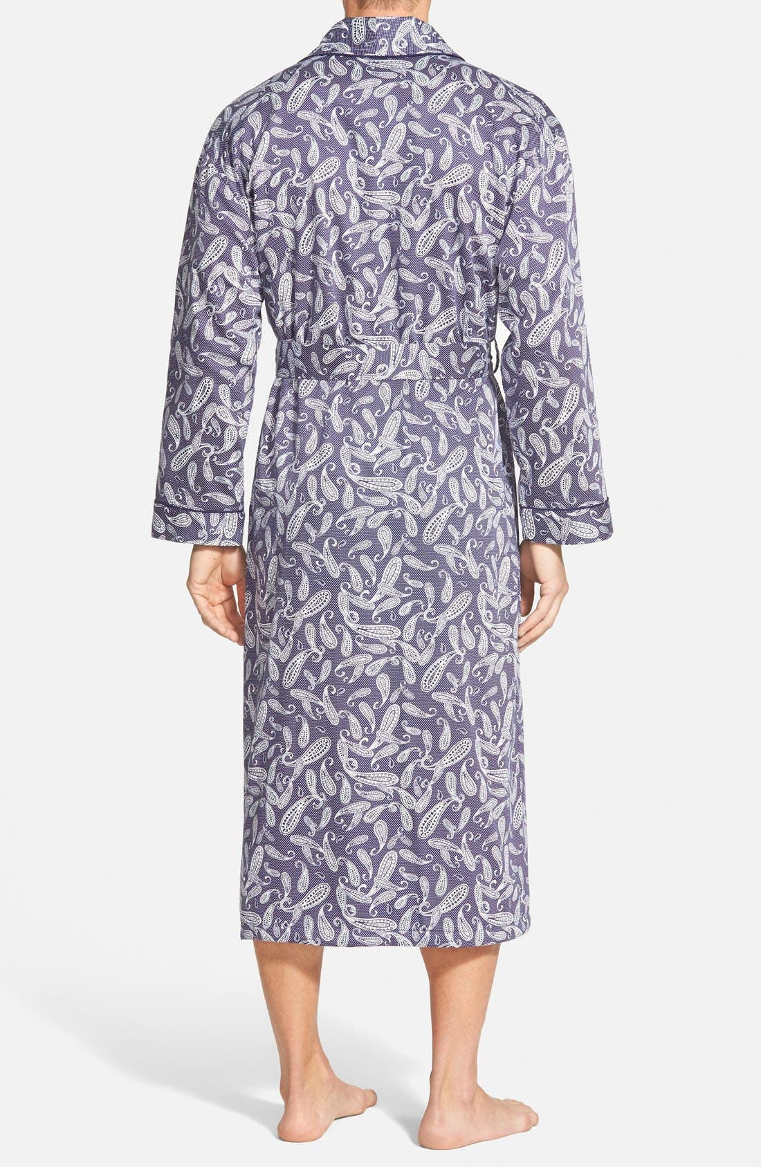 'Mosaic' Terry Lined Sateen Robe,                             Alternate thumbnail 3, color,