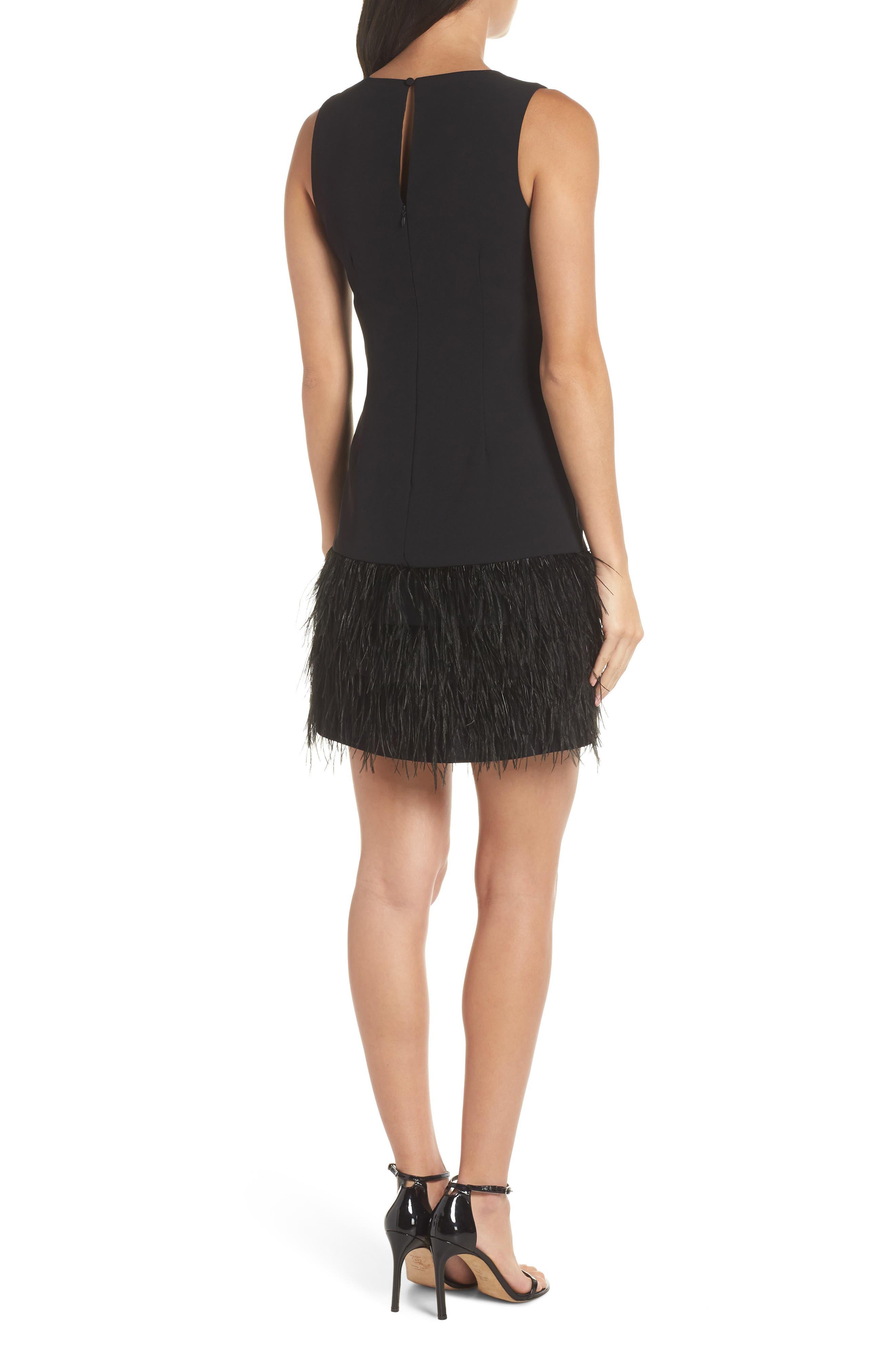 Feather Hem Sheath Dress,                             Alternate thumbnail 2, color,                             BLACK