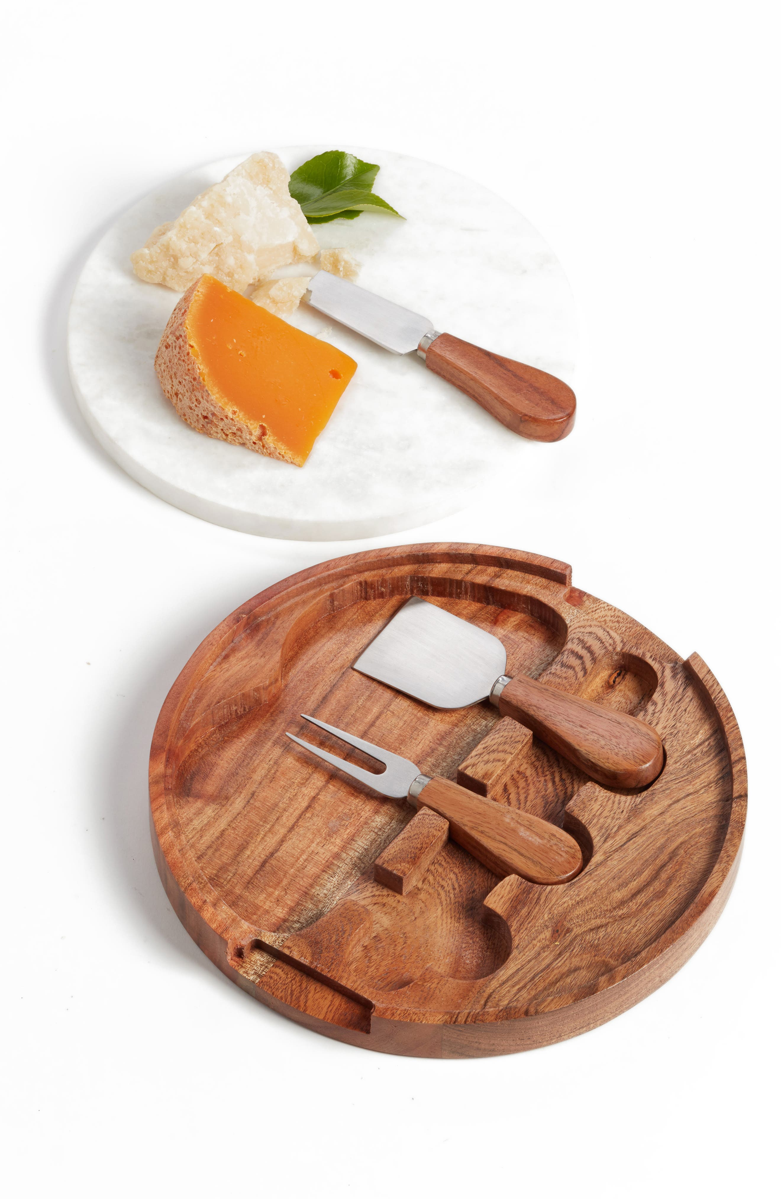 Marble Topped Cheese Board & Cheese Knives,                         Main,                         color, BROWN