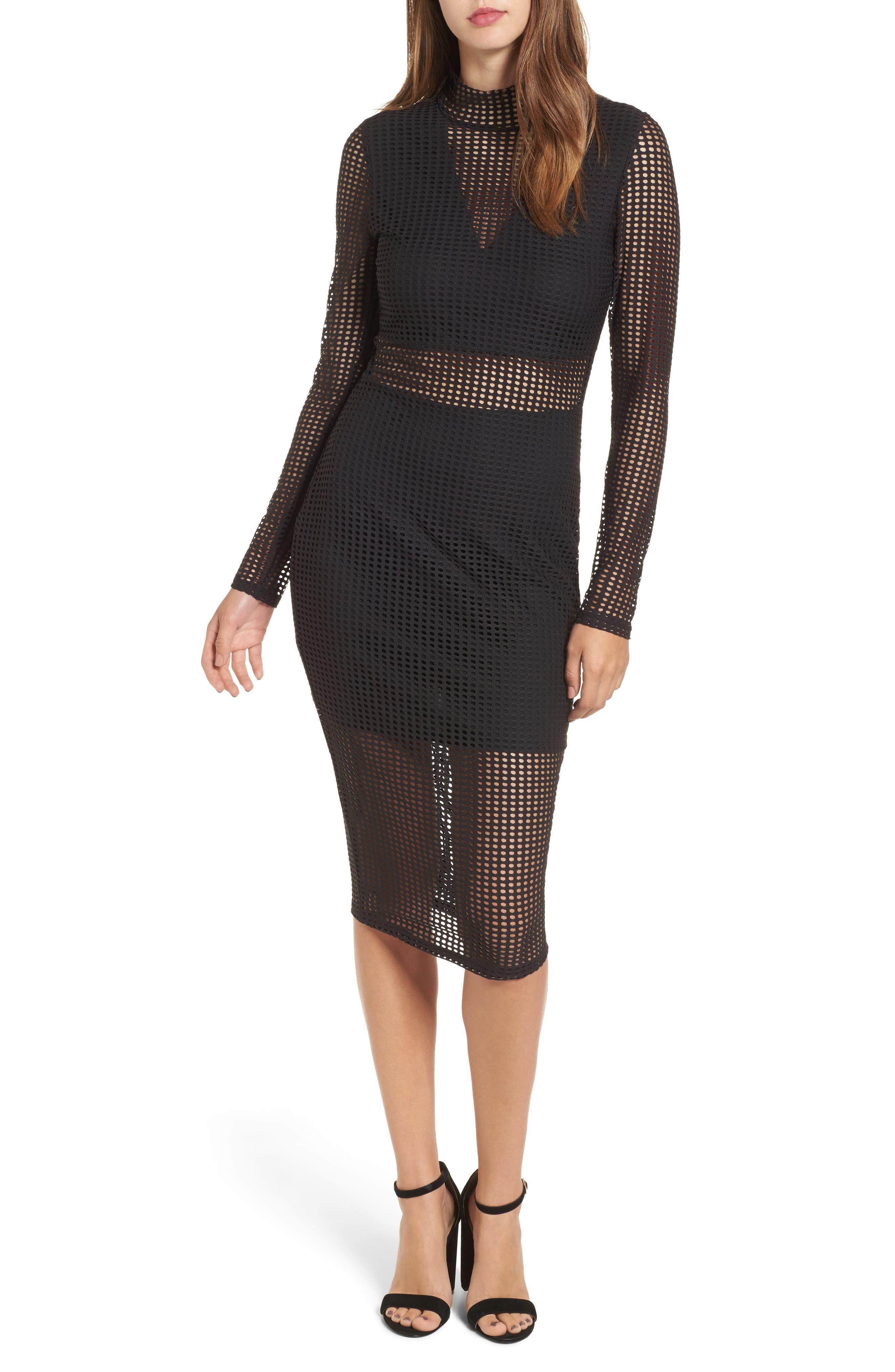 Laser Cut Body-Con Dress,                             Main thumbnail 1, color,                             001