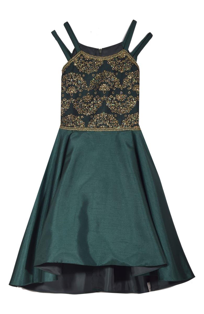 Iris   Ivy Glitter Mesh Bodice High Low Dress (Big Girls)  90762ceb44ce