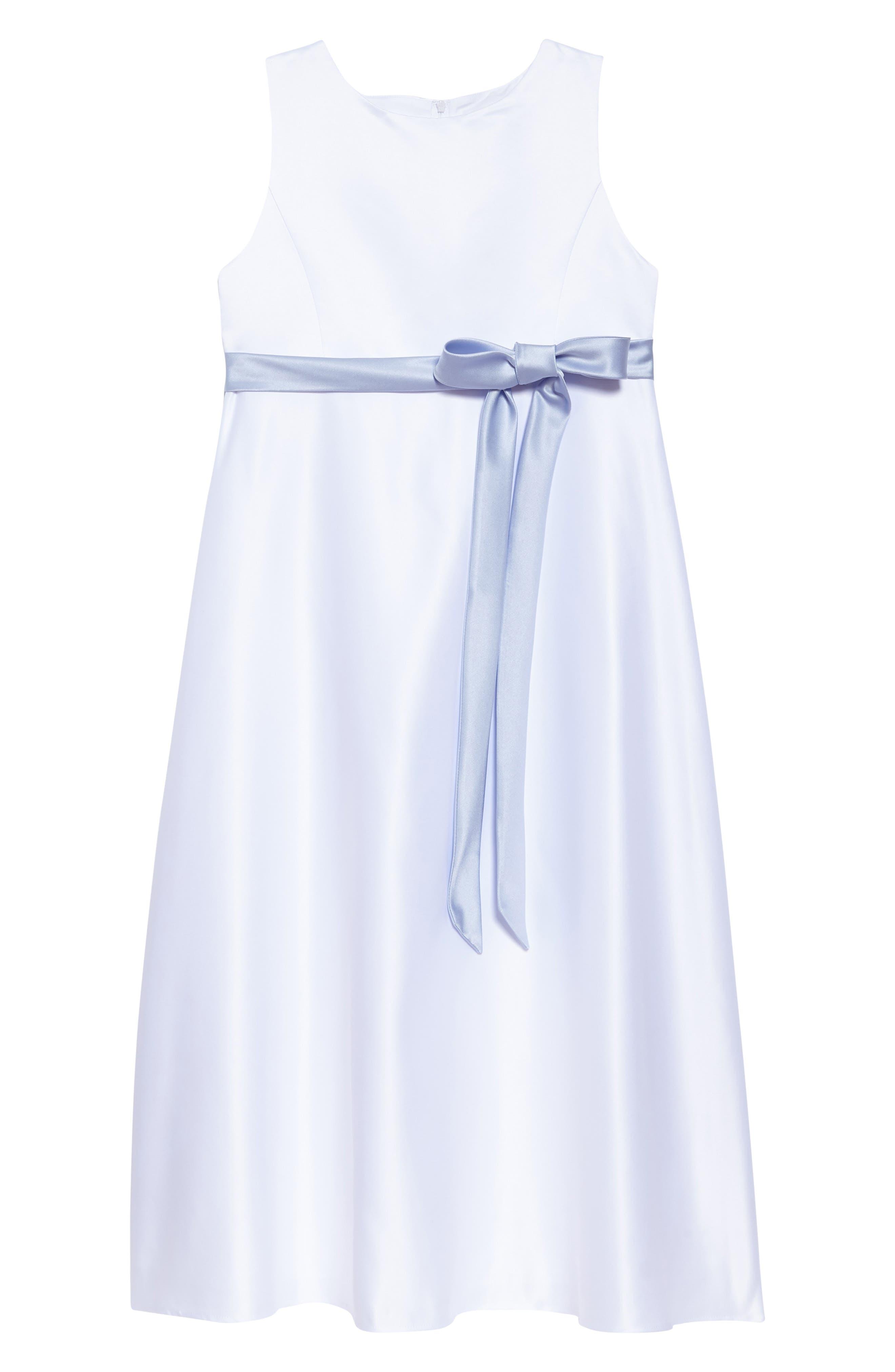 Sleeveless Satin Dress,                             Main thumbnail 1, color,                             WHITE/ BLUE