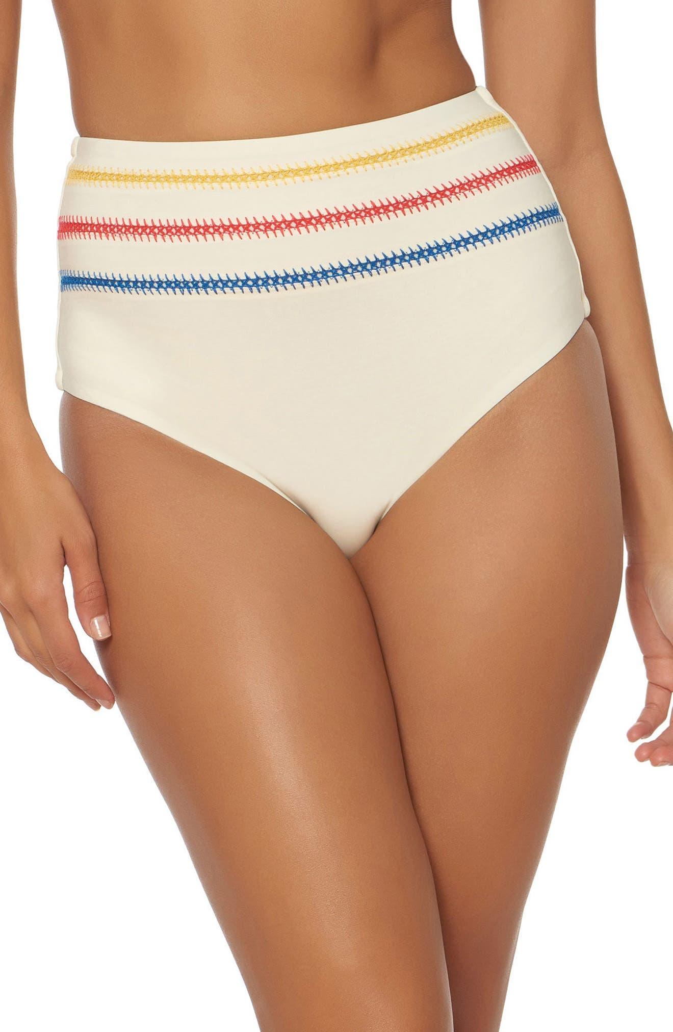 Embroidered High Waist Bikini Bottoms,                             Main thumbnail 2, color,