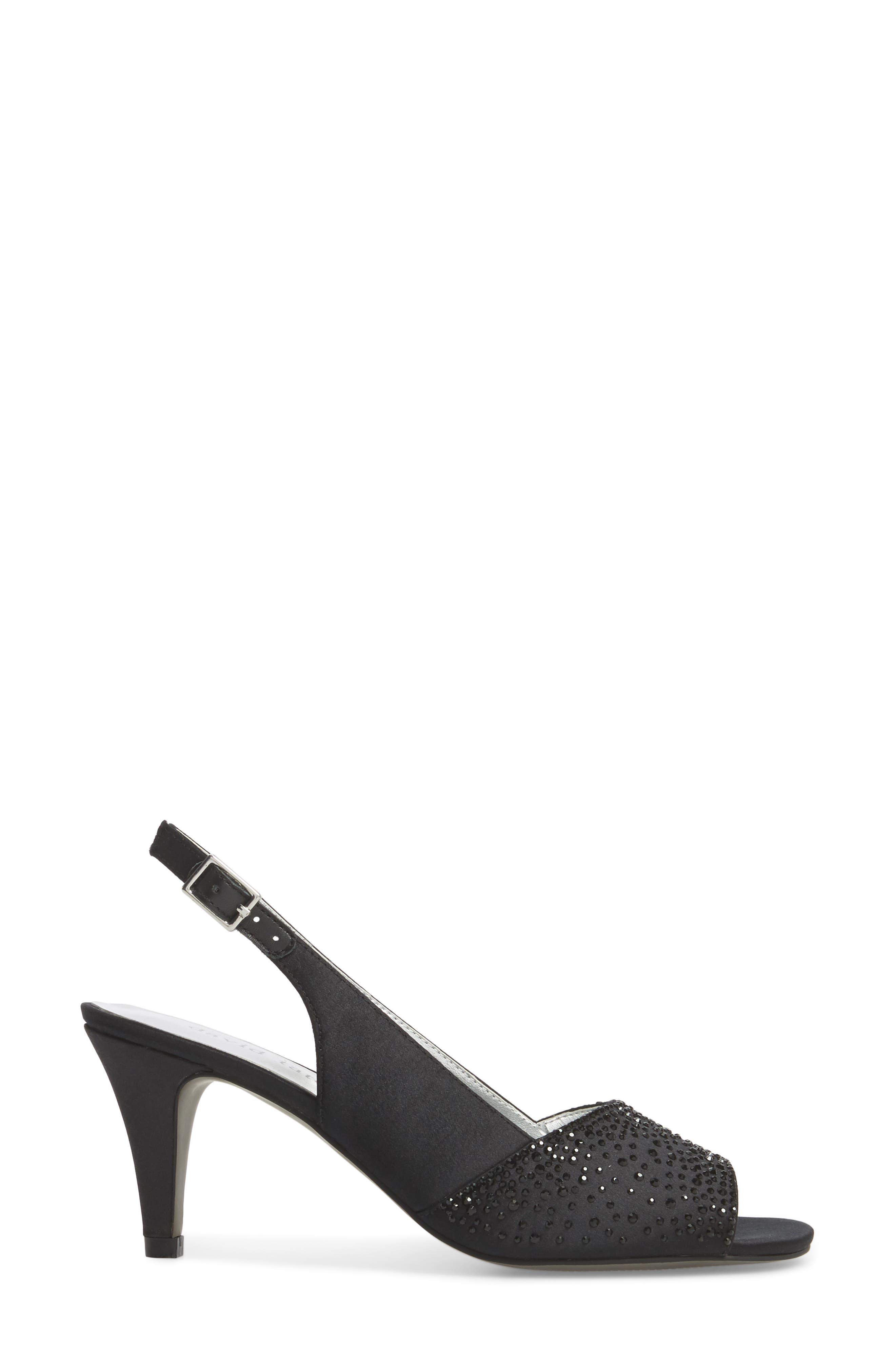 Stunning Slingback Pump,                             Alternate thumbnail 3, color,                             BLACK SATIN