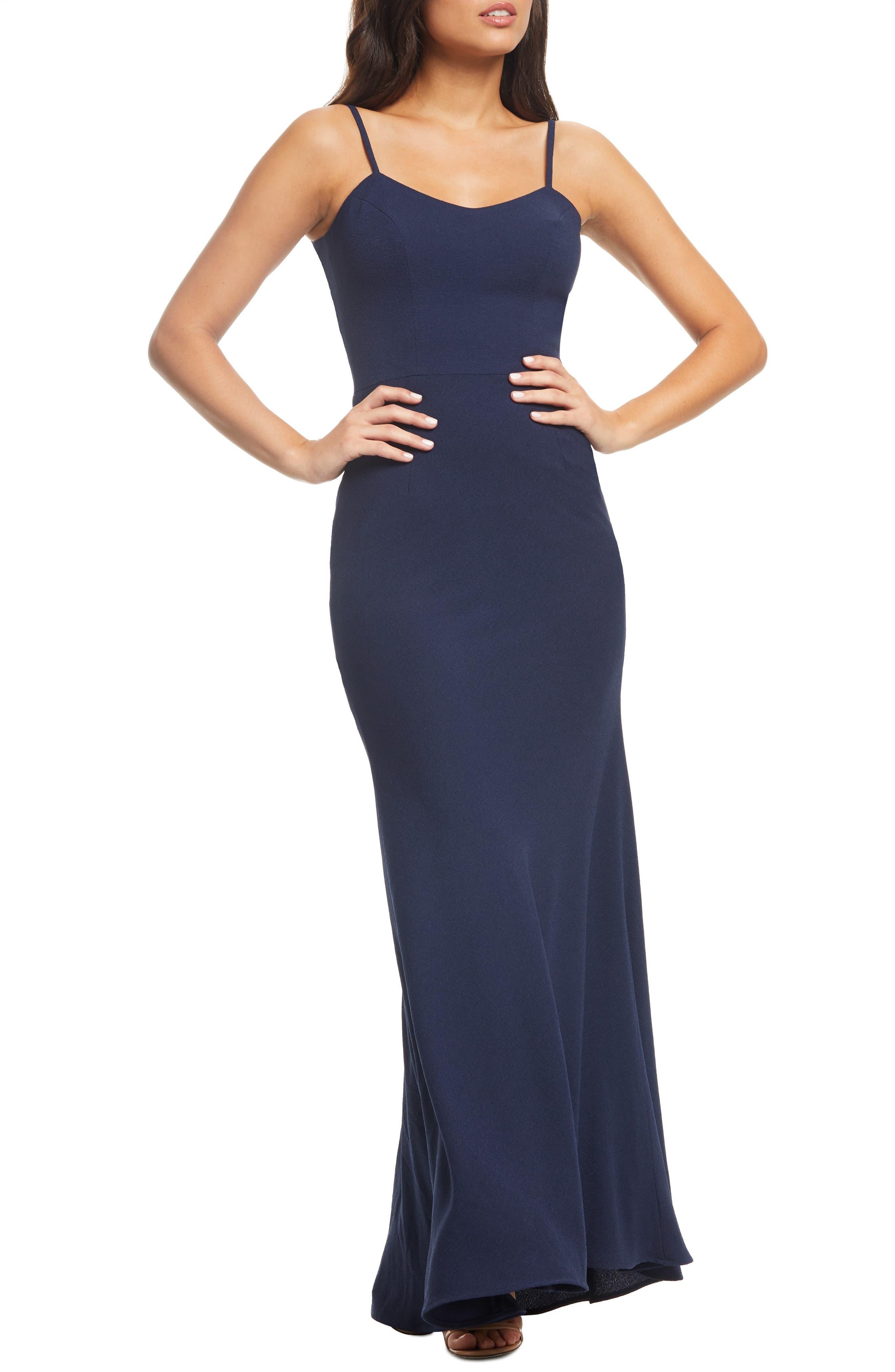 Dress The Population Jodi Crepe Evening Dress, Blue