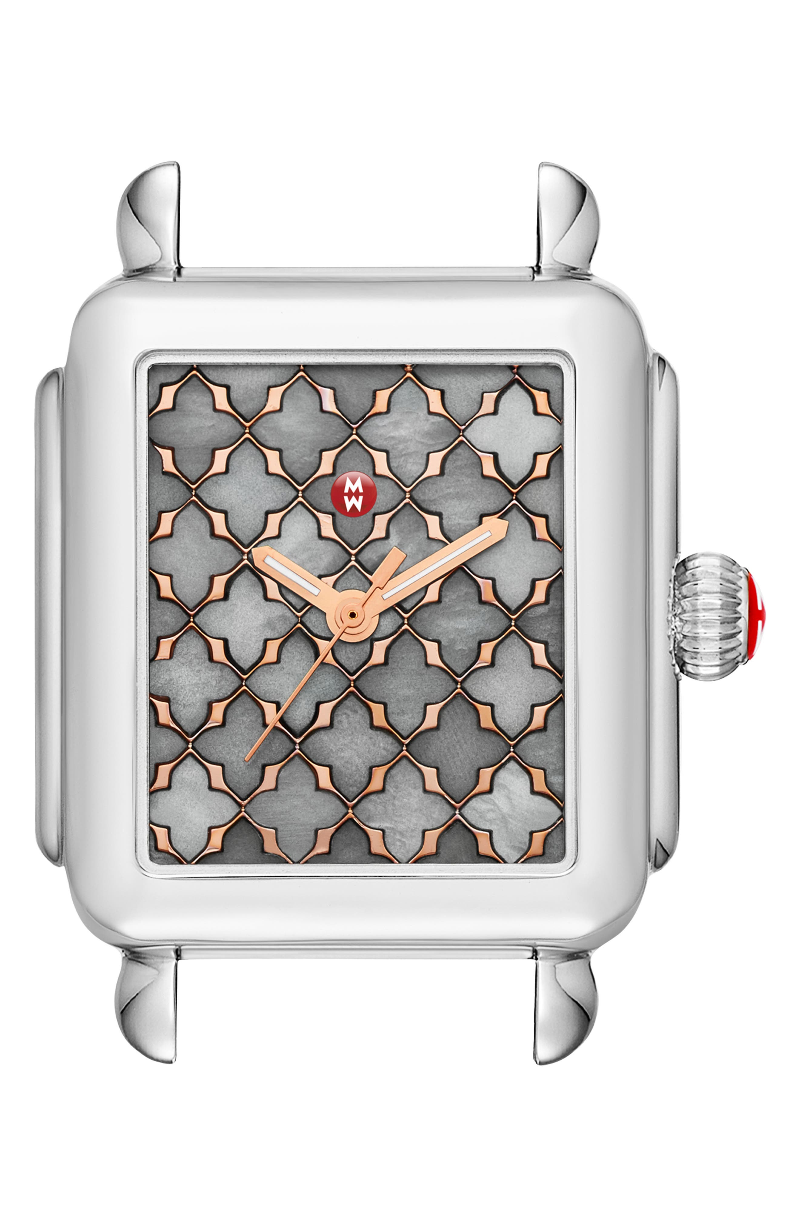 Deco Mosaic Square Watch Head, 33mm x 35mm,                             Main thumbnail 1, color,                             SILVER/ GREY MOP/ ROSE GOLD
