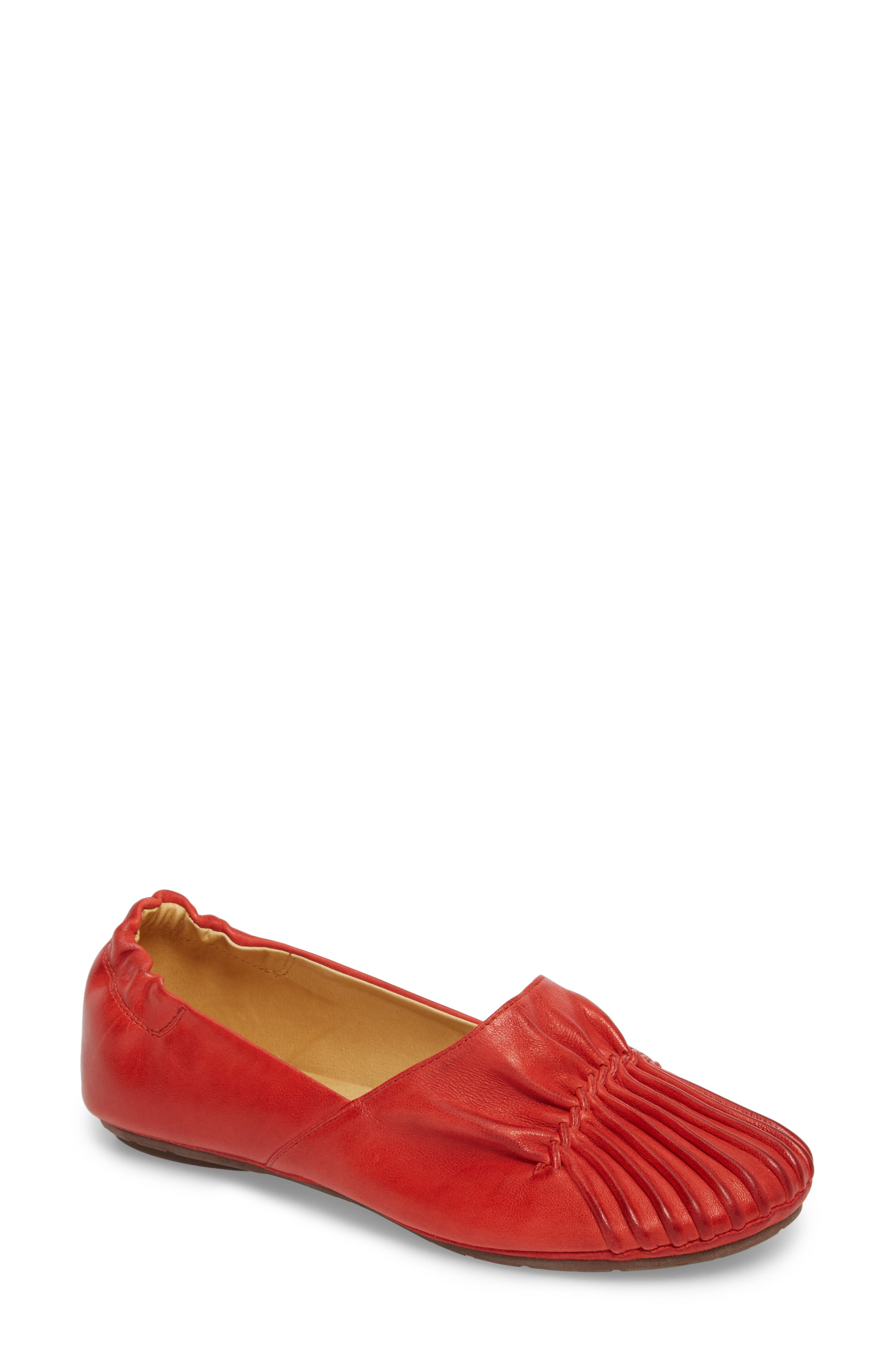 CHOCOLAT BLU,                             Cam II Pleated Flat,                             Main thumbnail 1, color,                             RED LEATHER