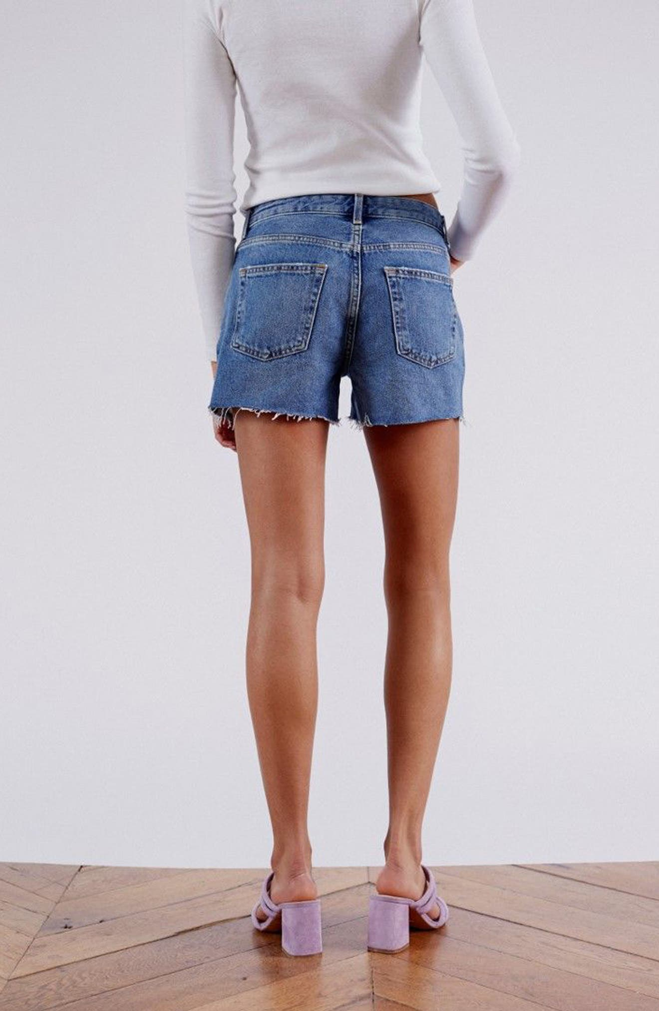 Ashley Ripped Boyfriend Shorts,                             Alternate thumbnail 6, color,                             MID DENIM