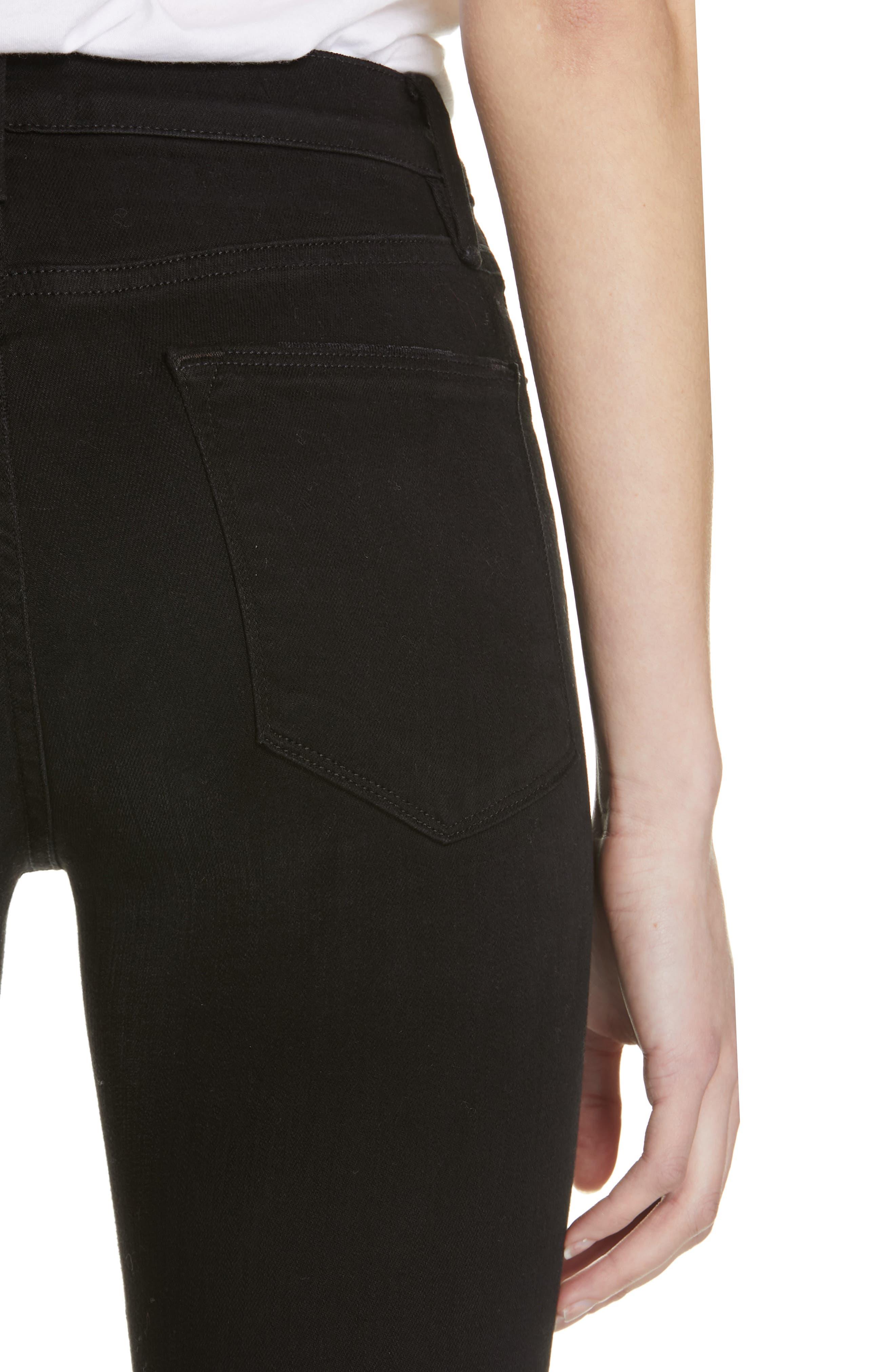 Le High Shredded Curved Hem Skinny Jeans,                             Alternate thumbnail 5, color,                             BLACKFISH