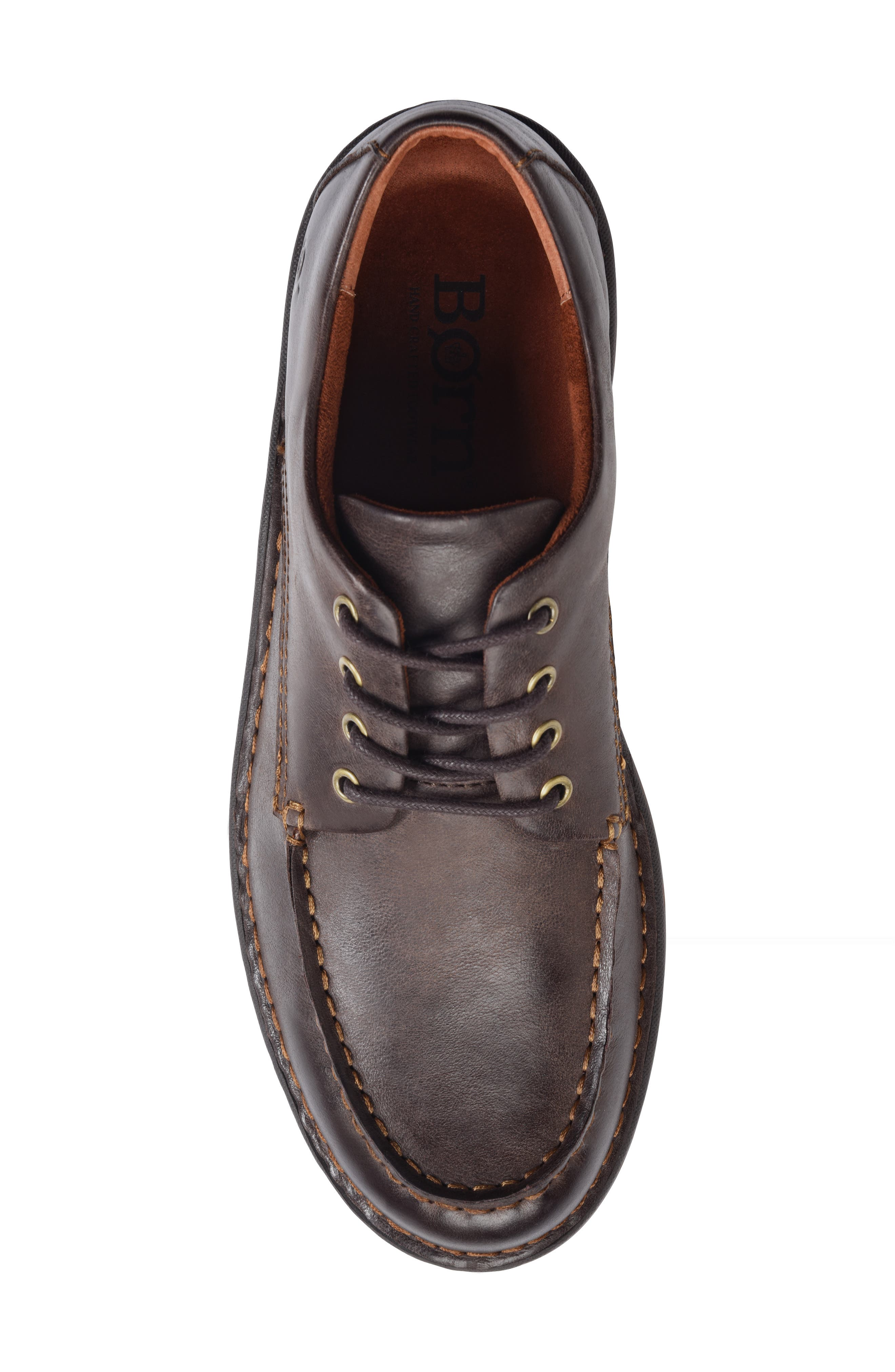 Leon Moc Toe Derby,                             Alternate thumbnail 5, color,                             DARK BROWN LEATHER