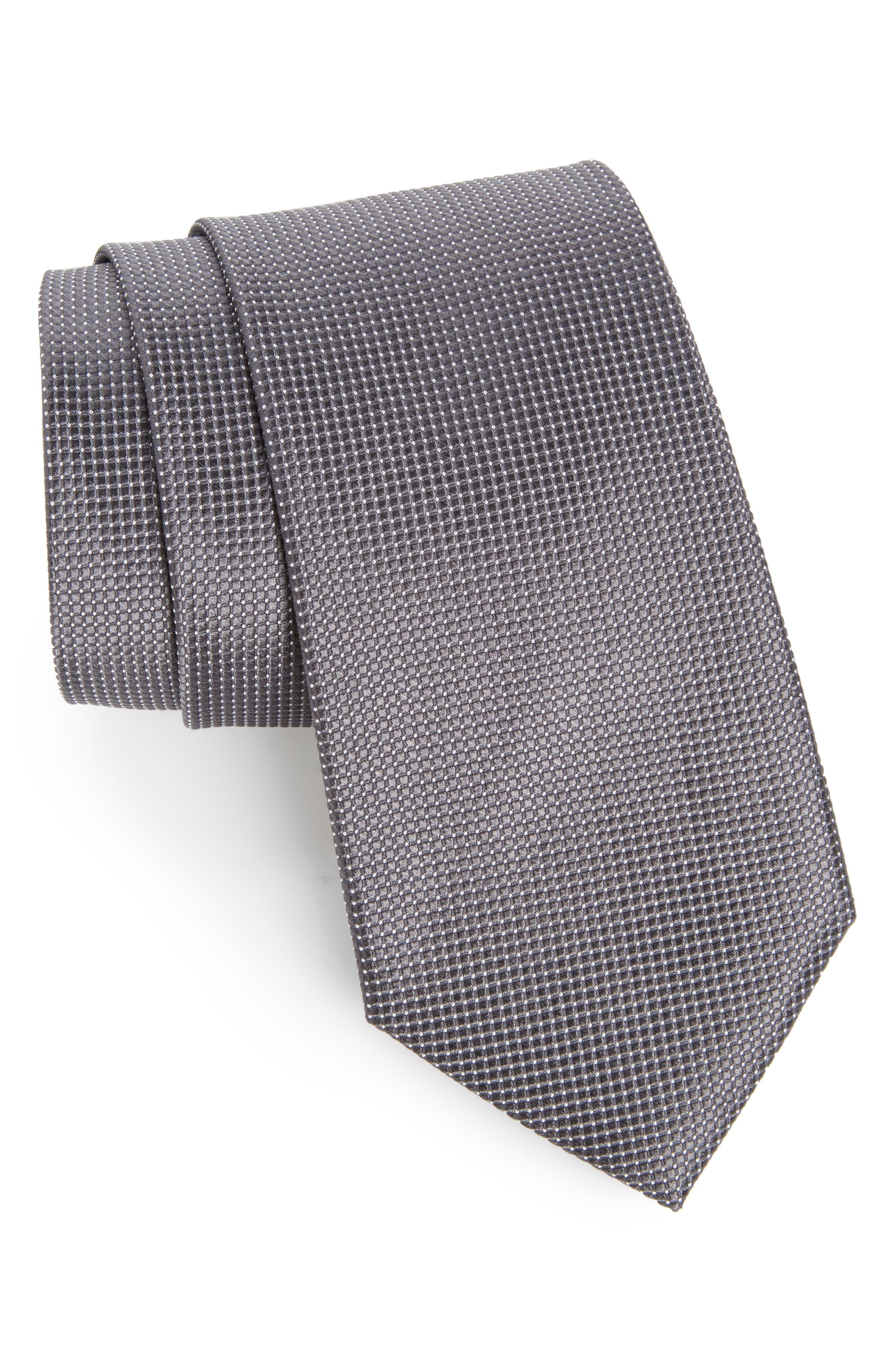 Micro Pin Dot Silk Tie,                             Main thumbnail 1, color,                             020