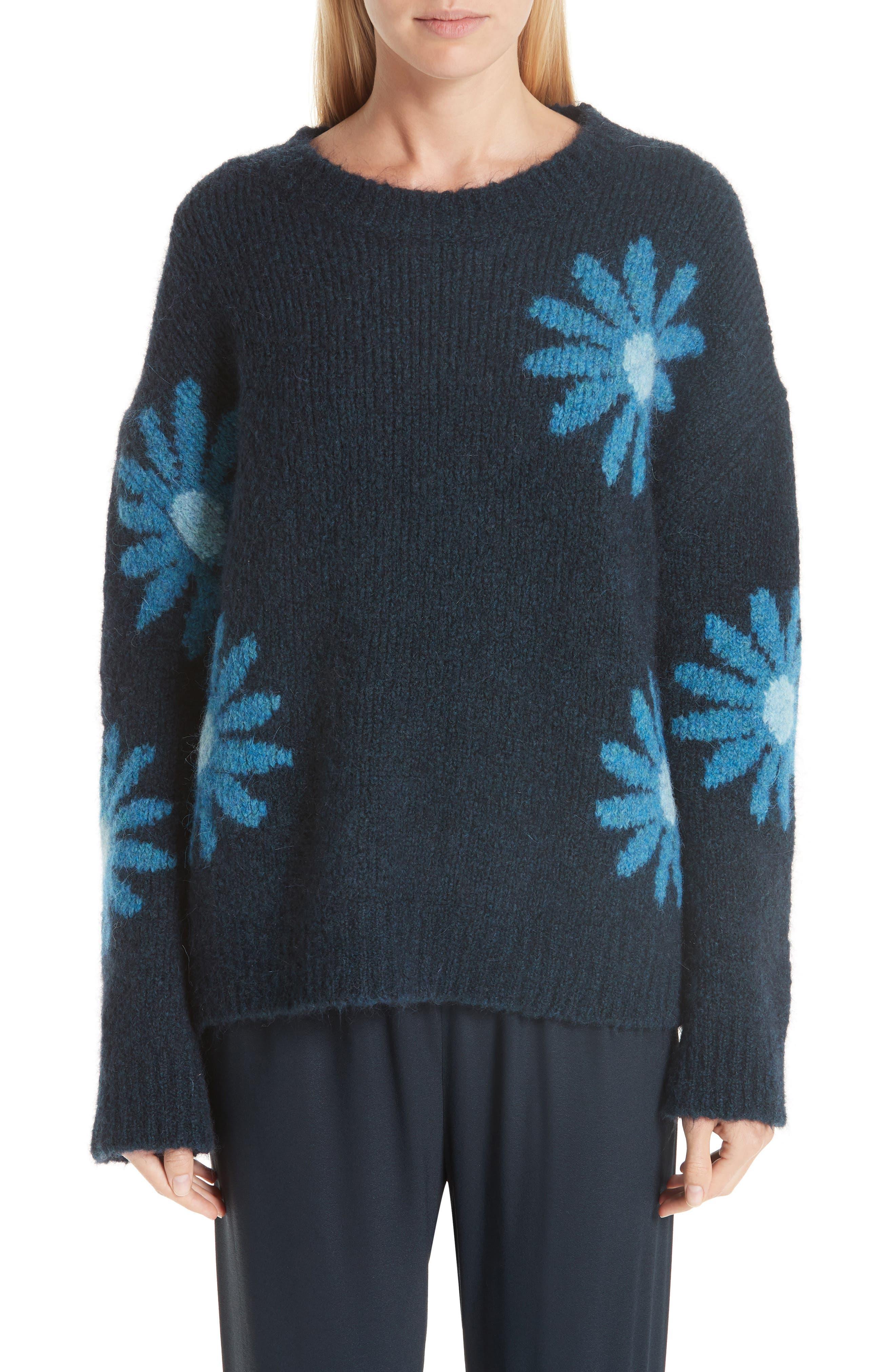 Mansur Gavriel Floral Alpaca & Wool Blend Sweater, Blue