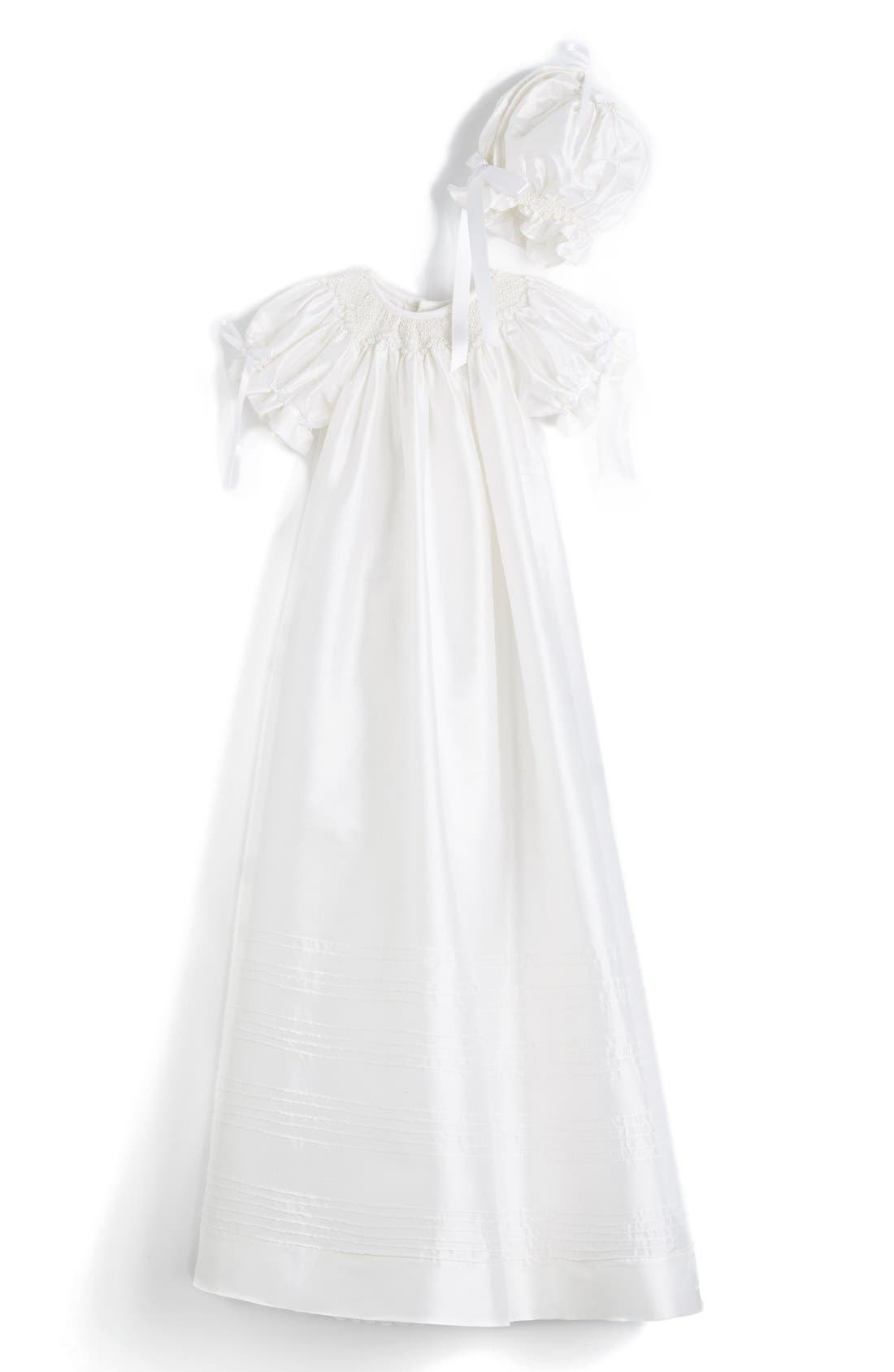 ISABEL GARRETON 'Garland' Silk Bishop Christening Gown & Bonnet, Main, color, 105
