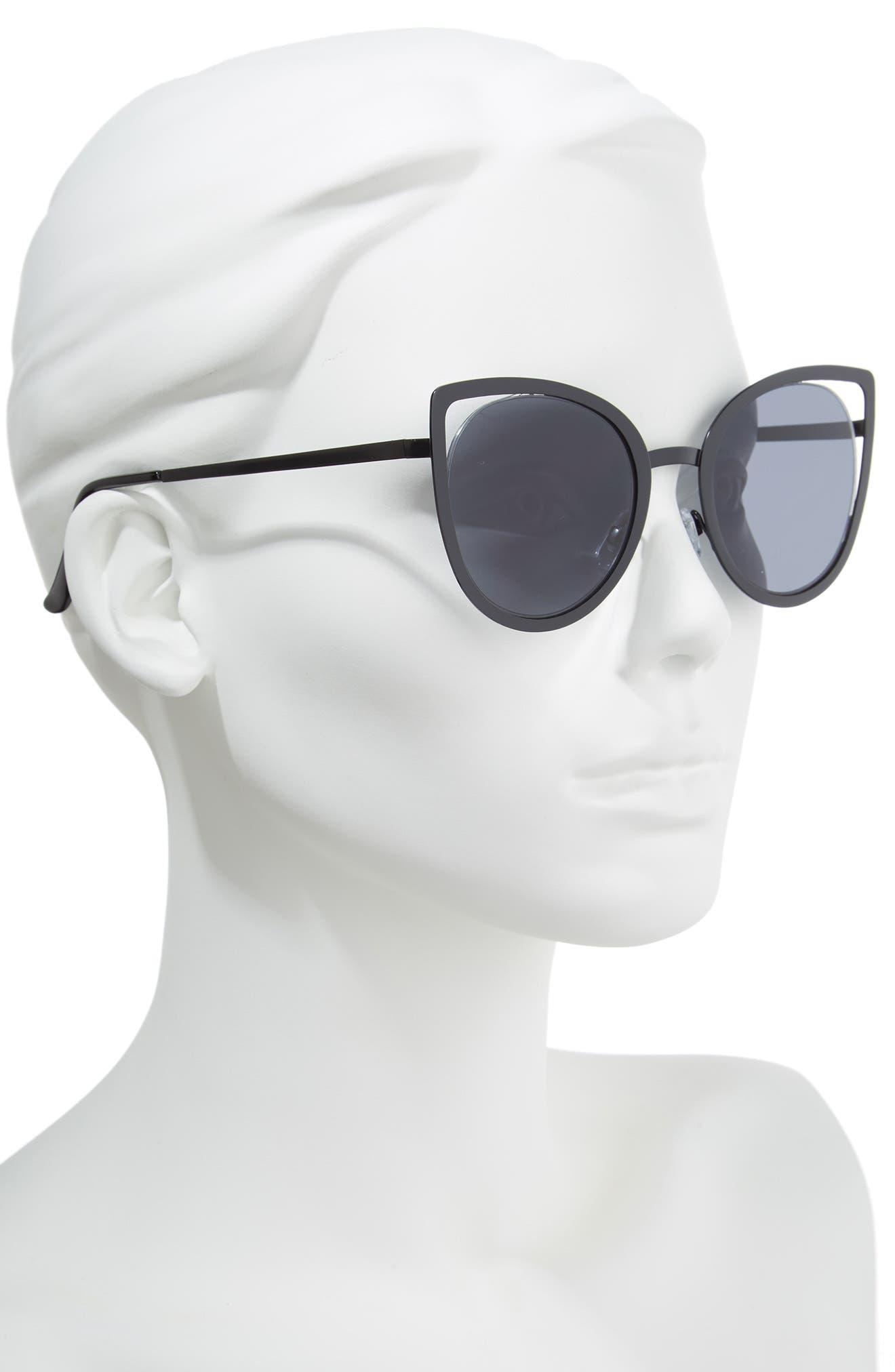 53mm Cutout Cat Eye Sunglasses,                             Alternate thumbnail 2, color,                             001