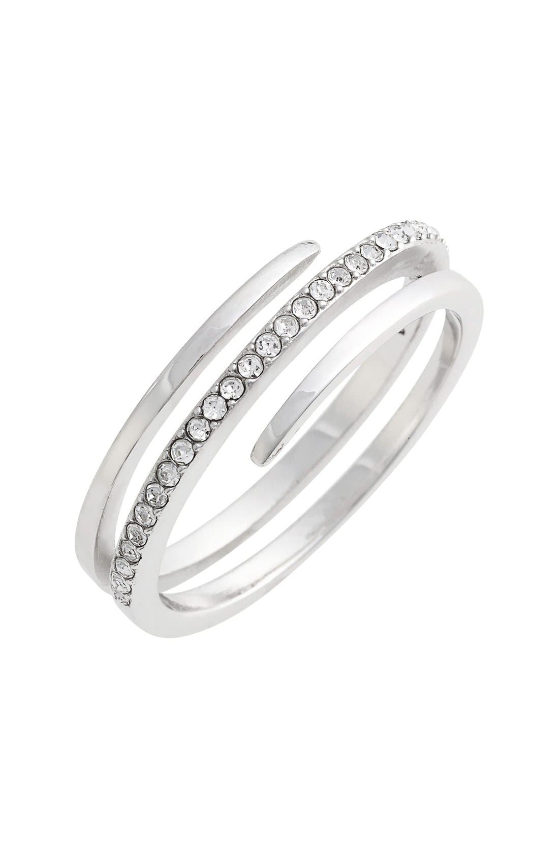 Crystal Wrap Ring,                         Main,                         color, SILVER