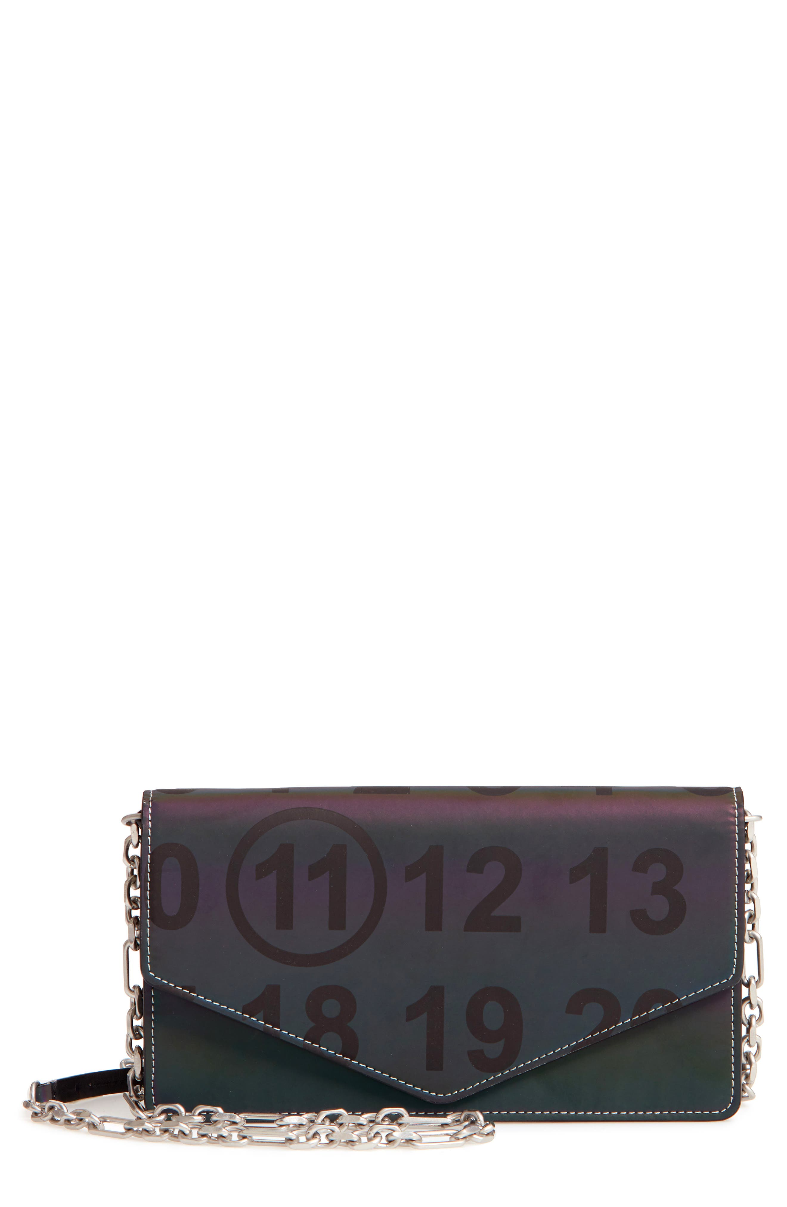 Reflective Wallet on a Chain,                             Main thumbnail 1, color,                             BLACK
