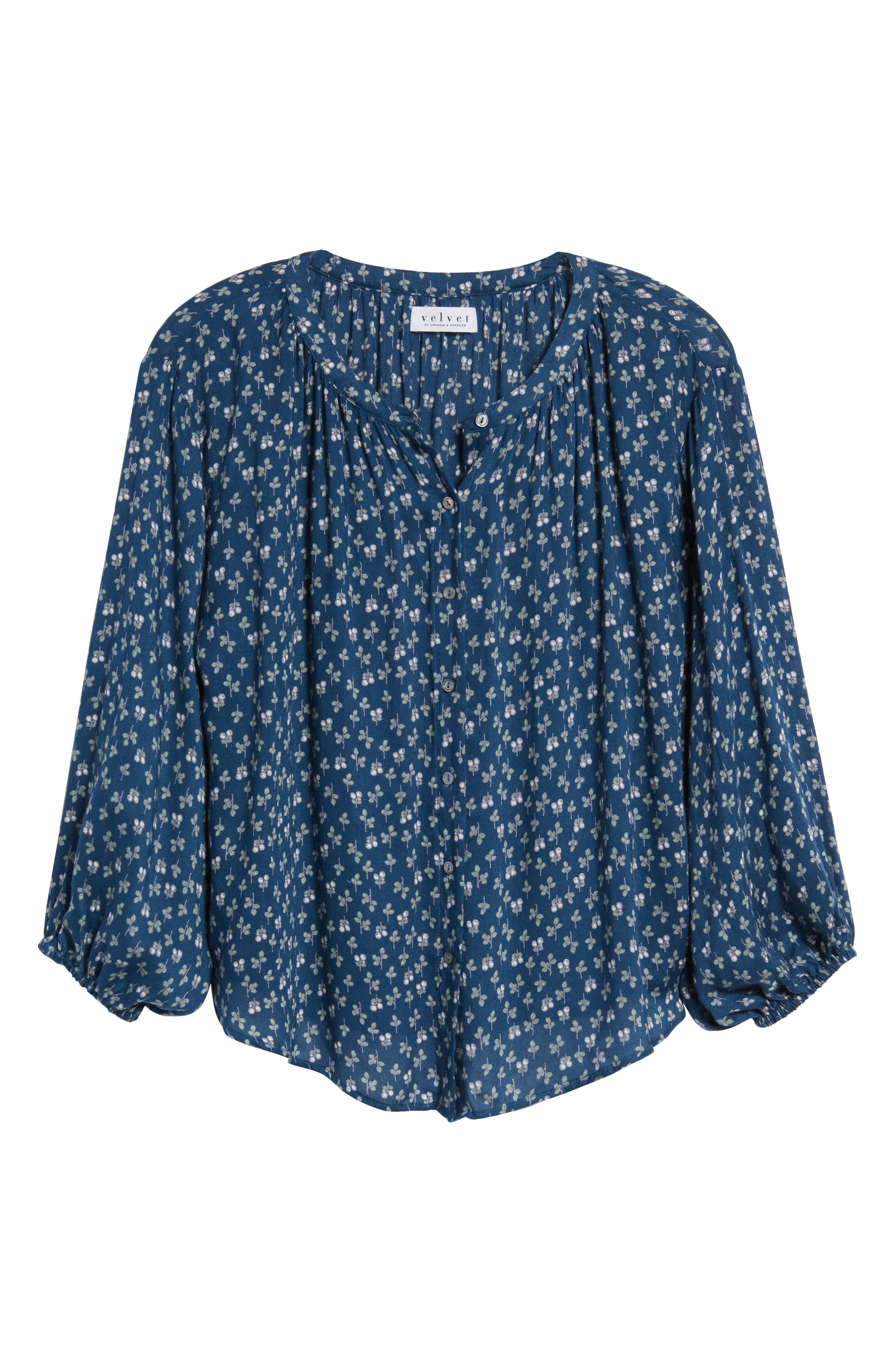 Printed Gauze Peasant Blouse,                             Alternate thumbnail 6, color,                             BLUE SPRUCE