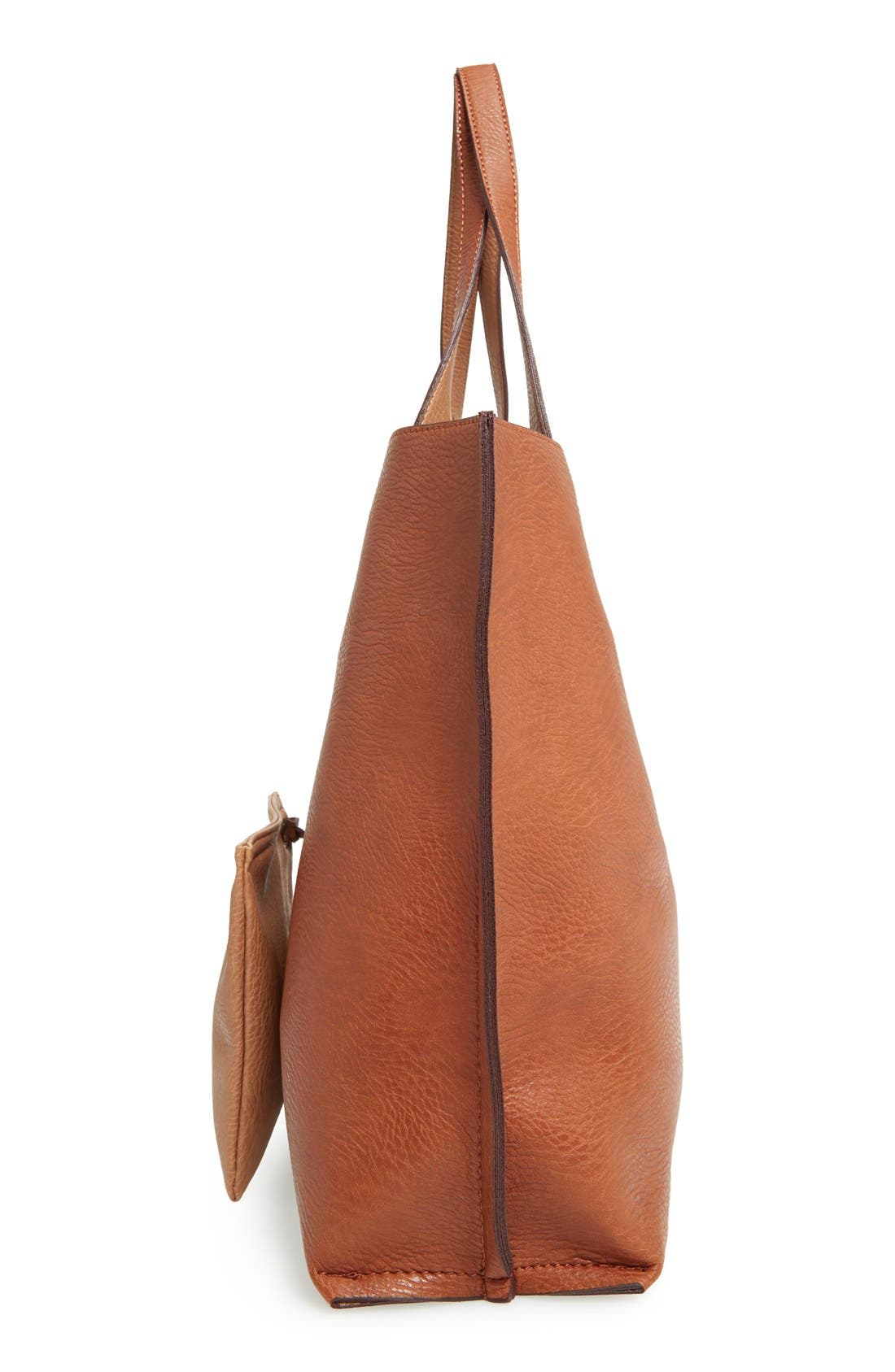 STREET LEVEL,                             Reversible Faux Leather Tote & Wristlet,                             Alternate thumbnail 5, color,                             COGNAC