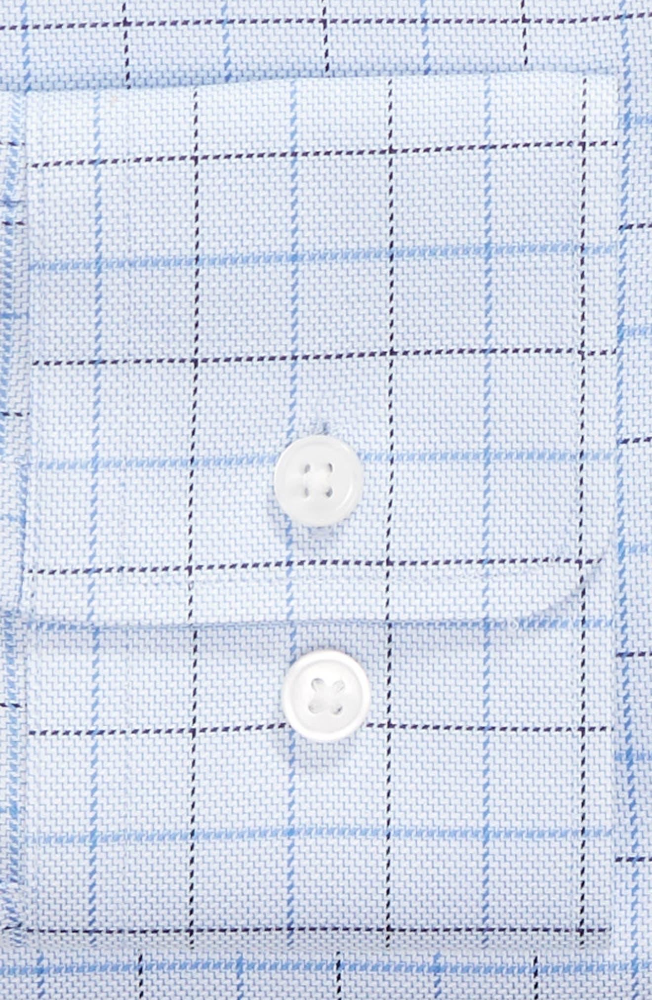 Mark Sharp Fit Check Dress Shirt,                             Alternate thumbnail 6, color,                             LIGHT BLUE