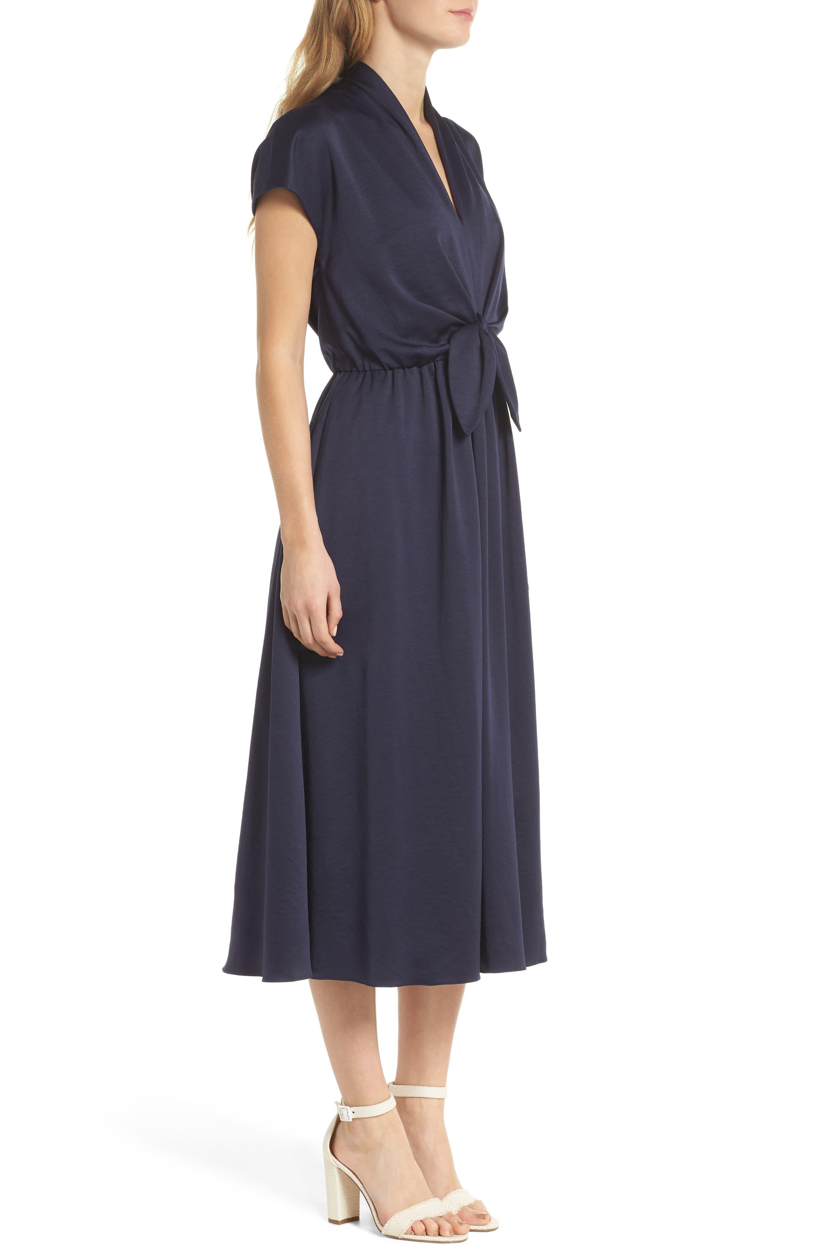 Margie Tie Waist Satin Midi Dress,                             Alternate thumbnail 3, color,                             462