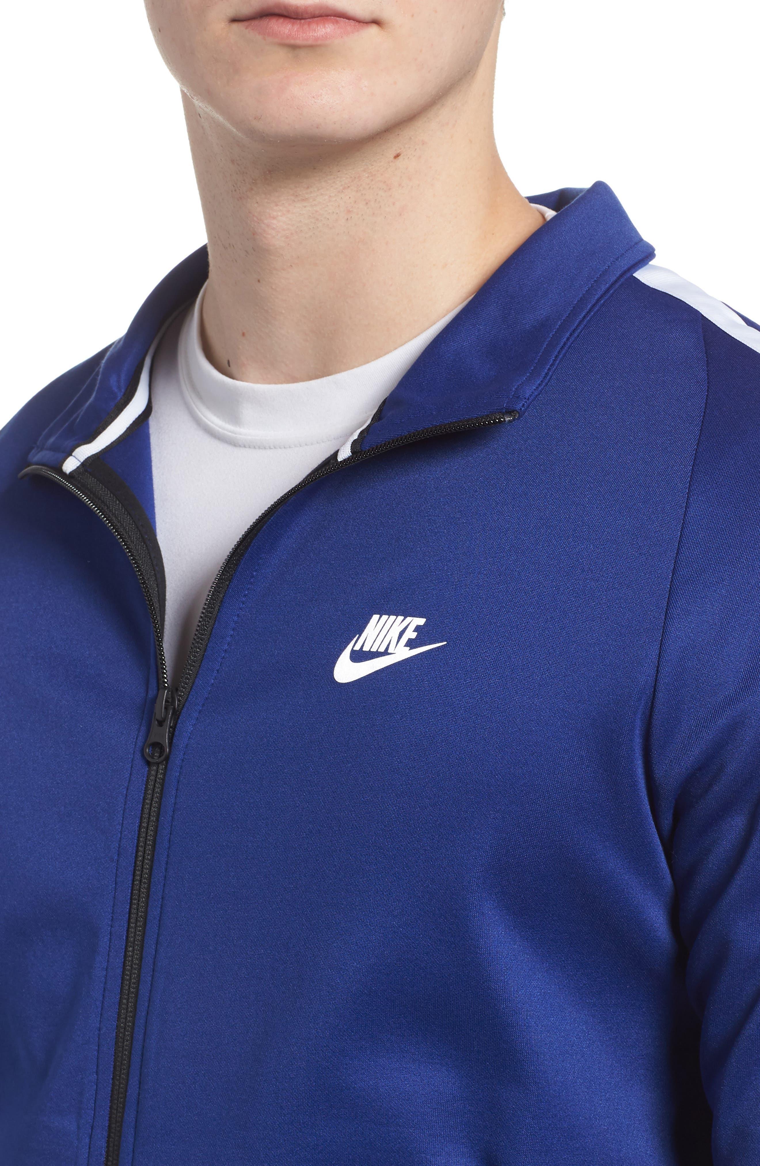 Sportswear Zip Track Jacket,                             Alternate thumbnail 4, color,                             DEEP ROYAL BLUE/ WHITE/ BLACK
