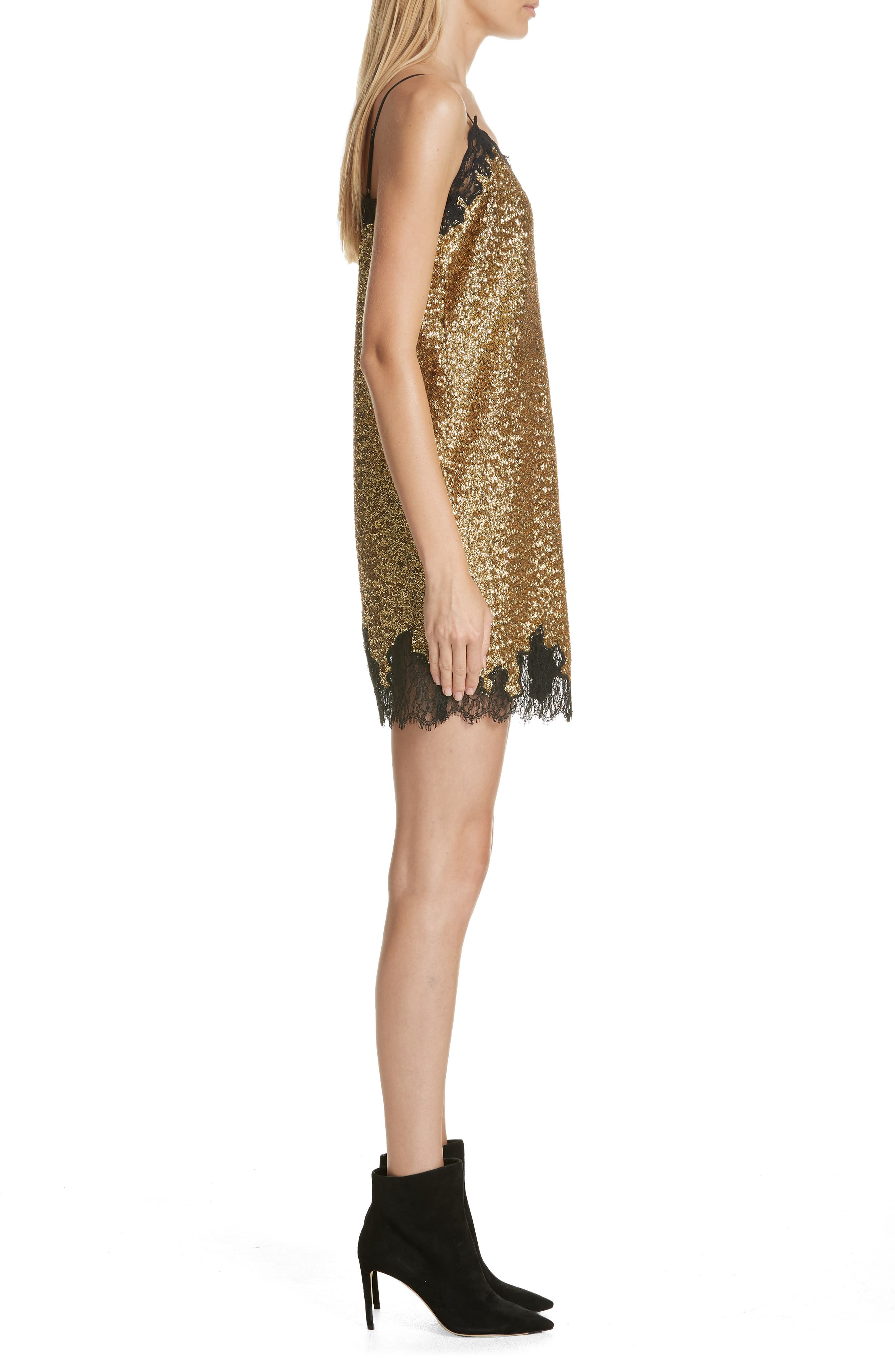 Sequin Lace Camisole Dress,                             Alternate thumbnail 3, color,                             YELLOW