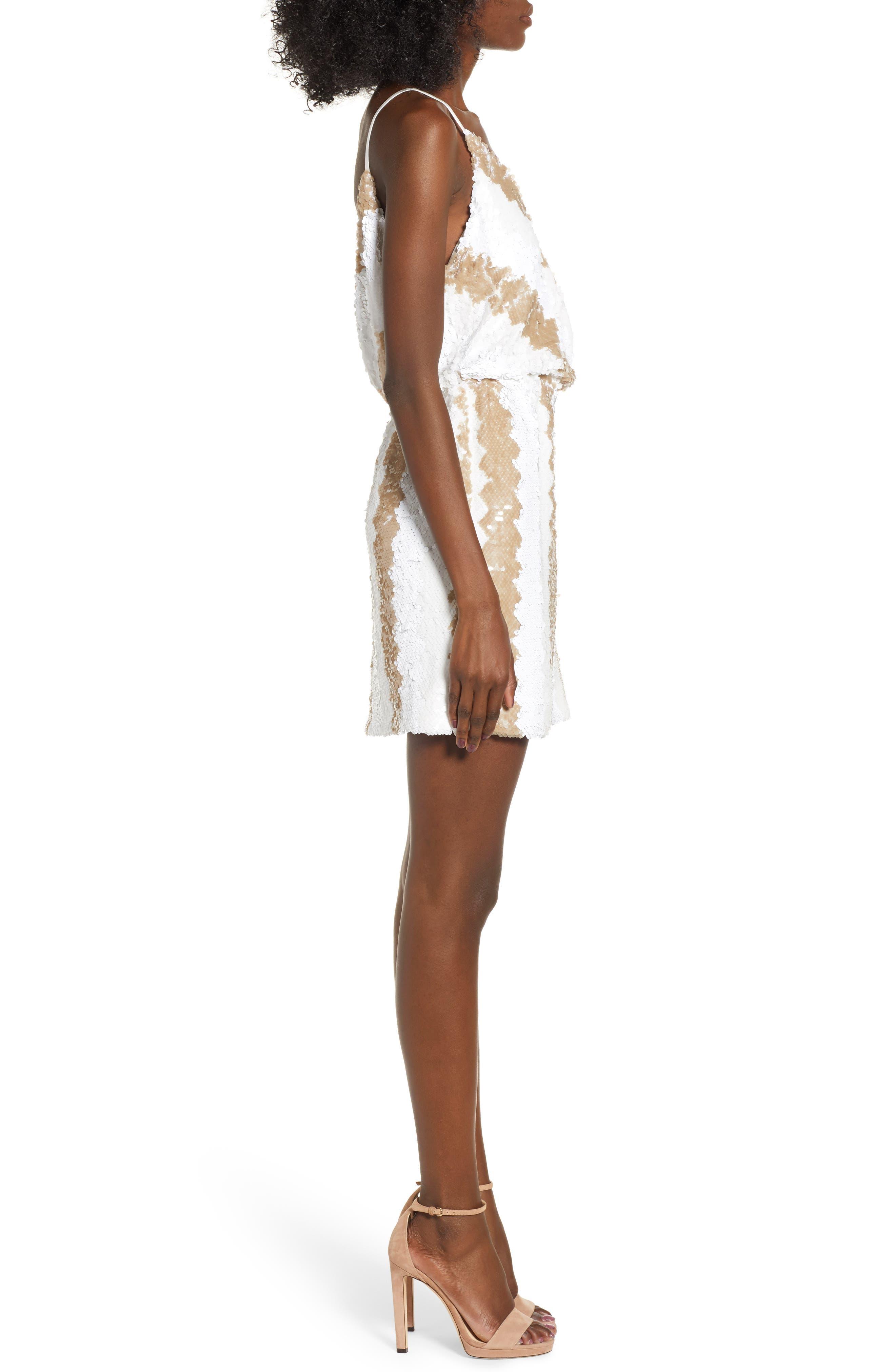 Sequin Minidress,                             Alternate thumbnail 3, color,                             WHITE