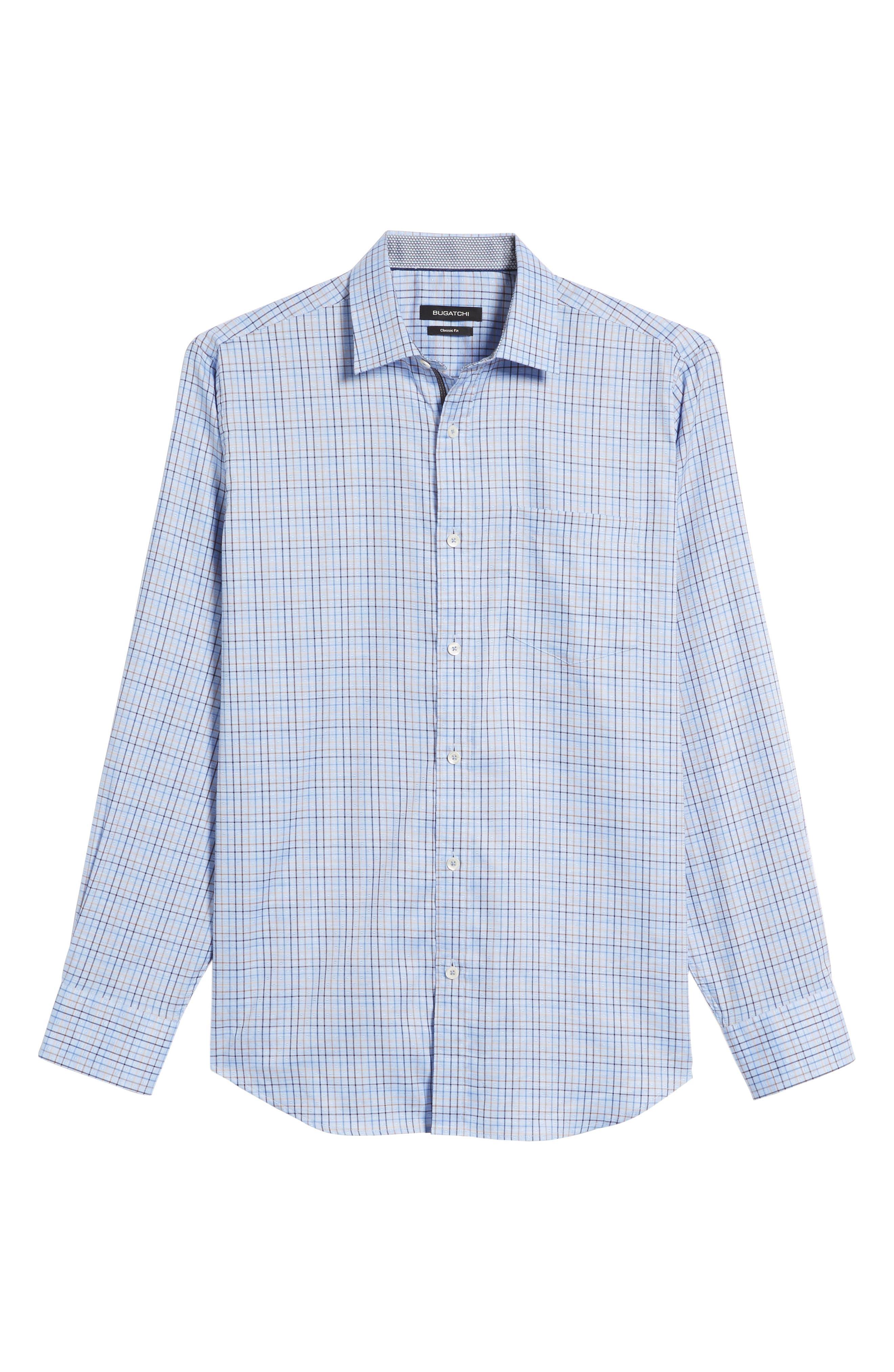 Classic Fit Dobby Grid Plaid Sport Shirt,                             Alternate thumbnail 6, color,