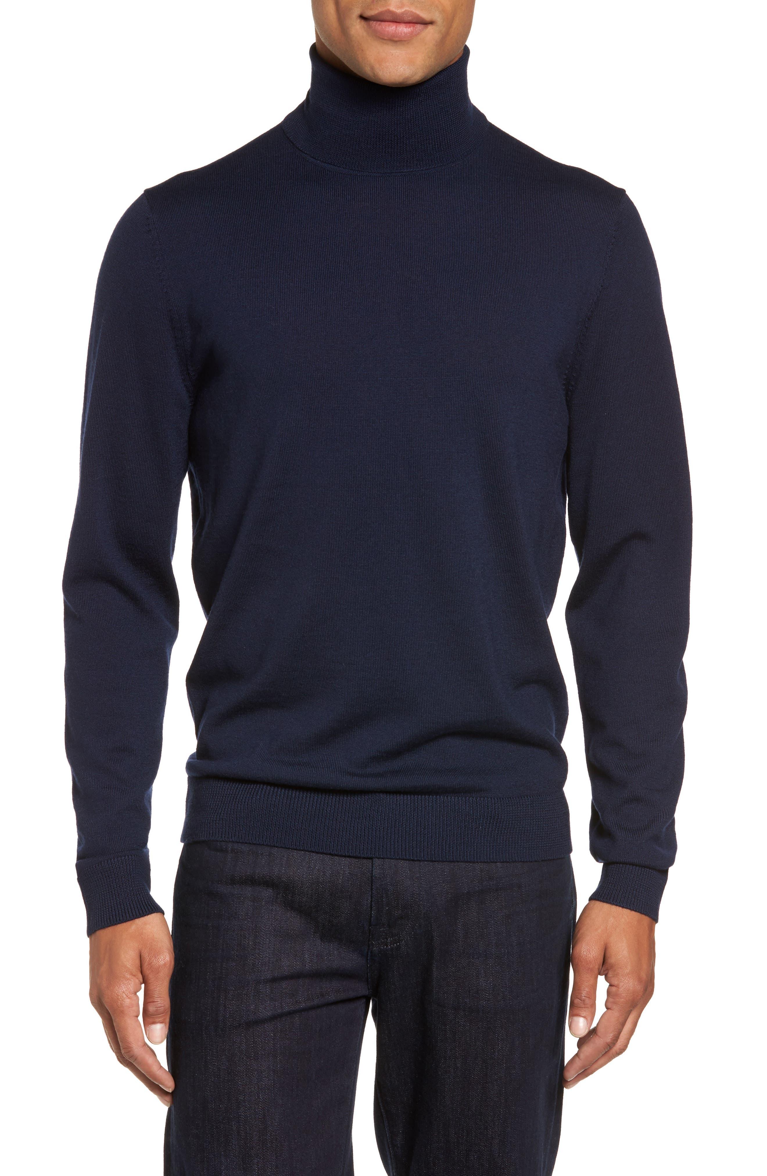 Nordstrom Shop Merino Wool Turtleneck Sweater, Blue