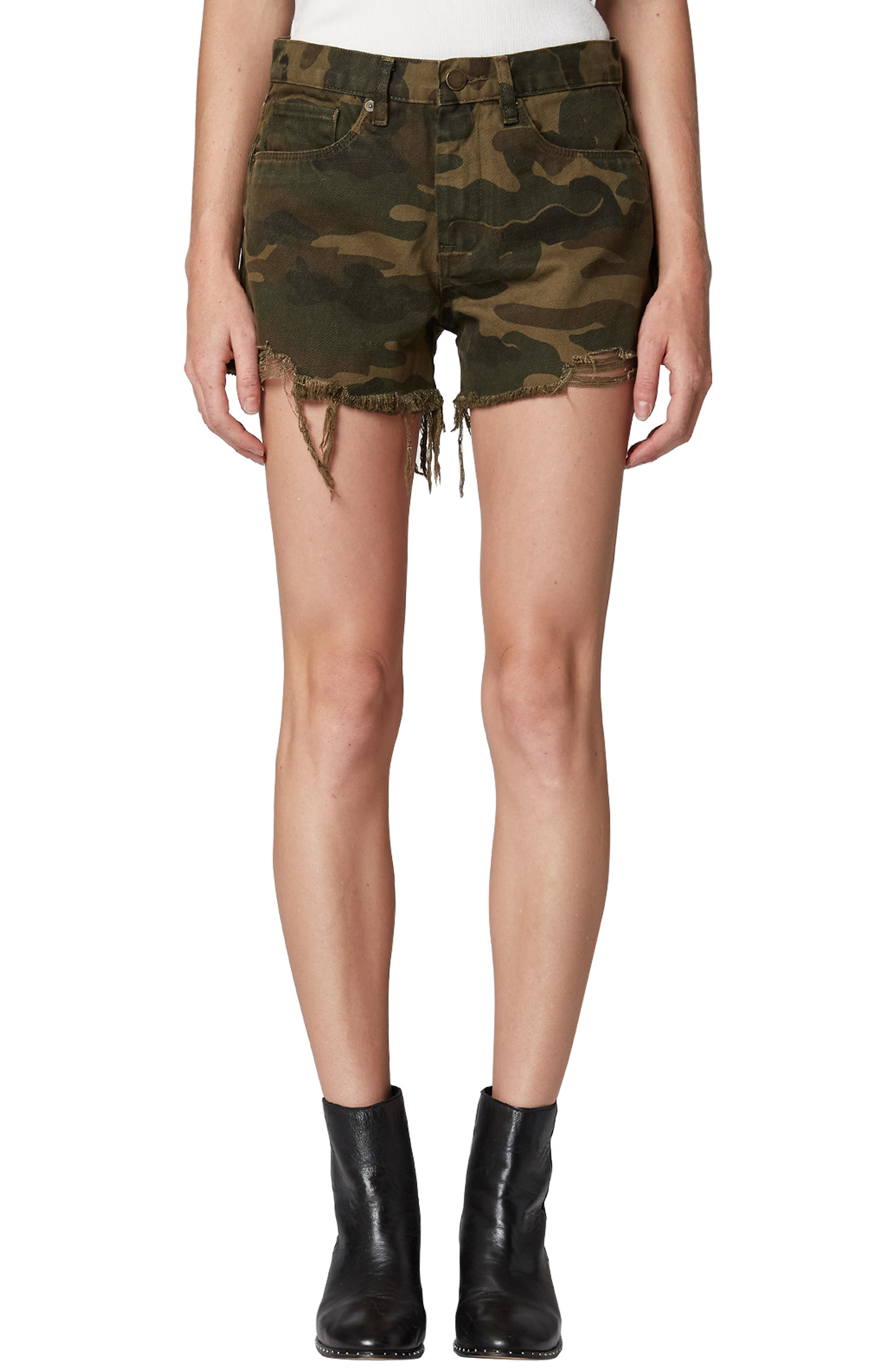 Cutoff Camo Shorts, Main, color, ARMY OF ONE
