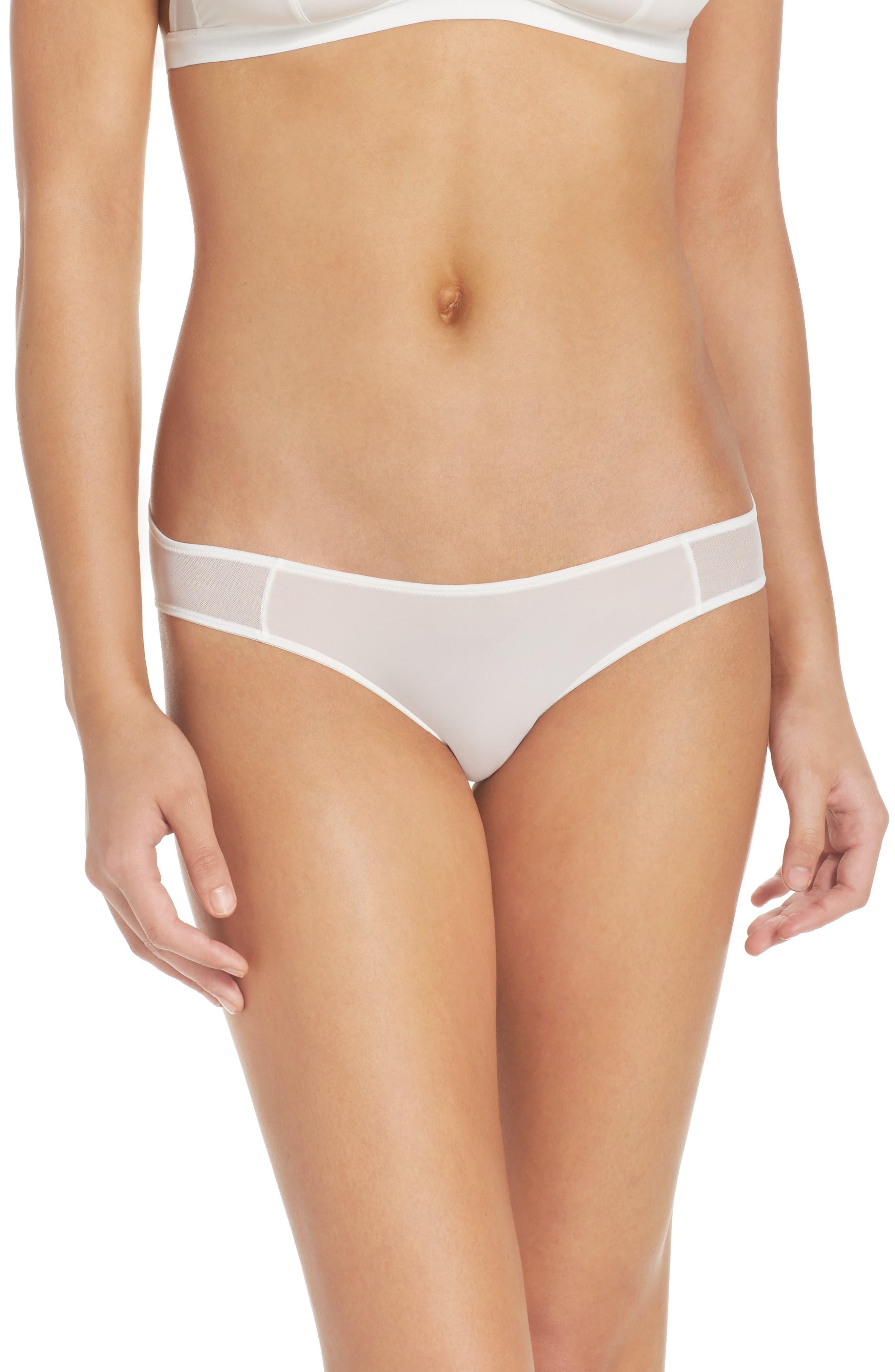 Mesh Trim Bikini,                         Main,                         color, WHITE WASH