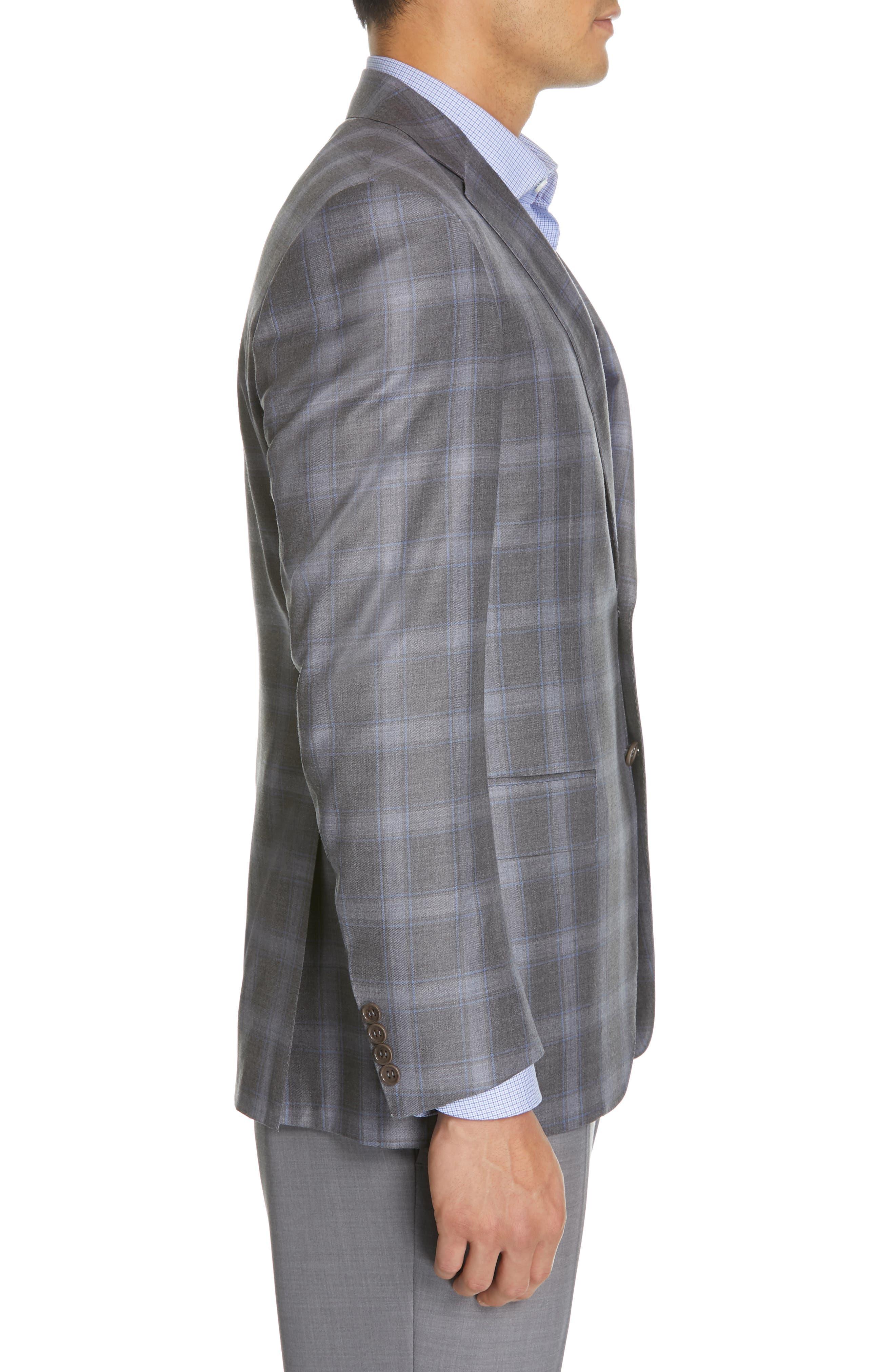 Sienna Classic Fit Plaid Wool Sport Coat,                             Alternate thumbnail 3, color,                             GREY