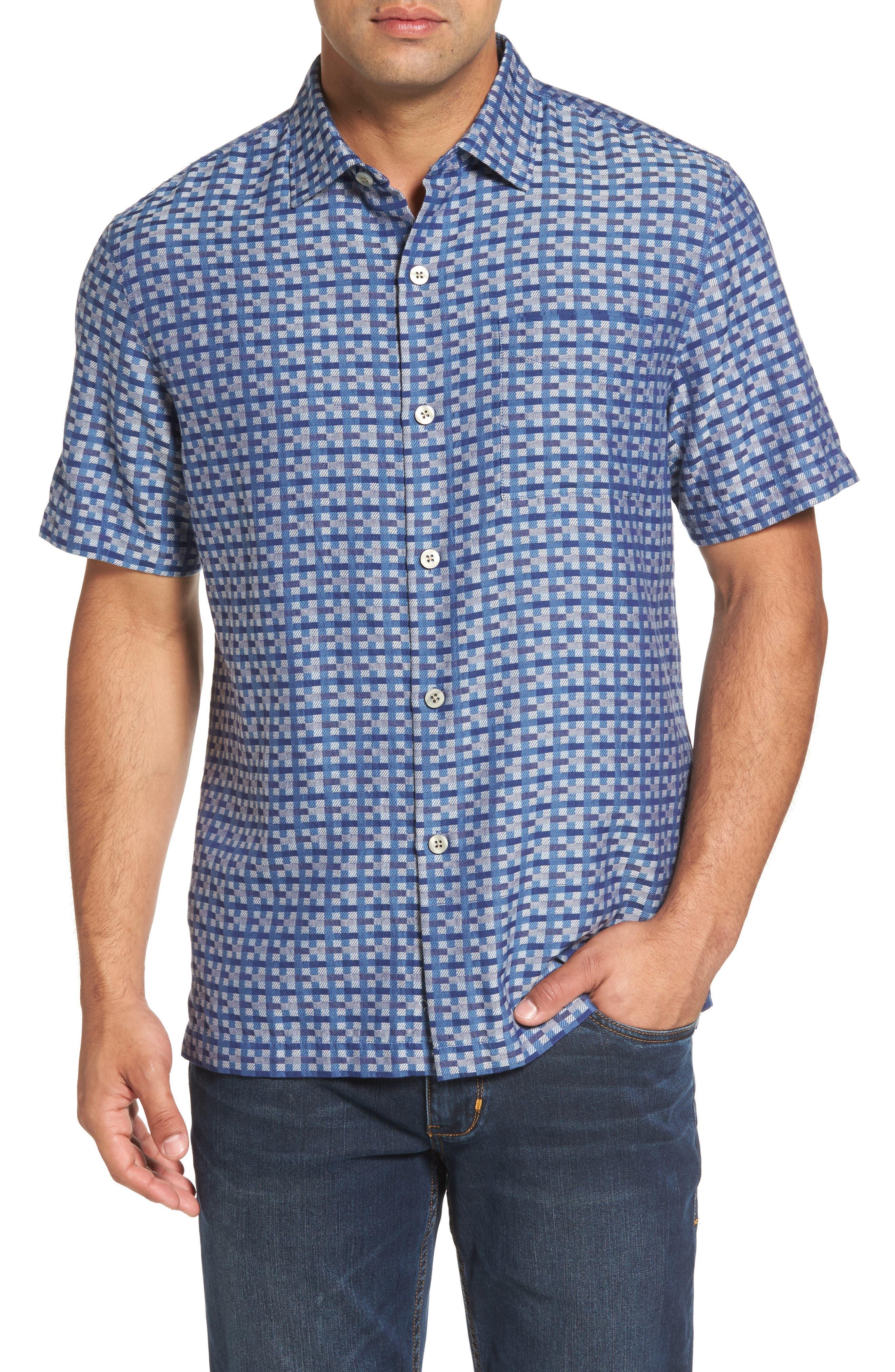 Moroccan Squares Standard Fit Silk Blend Camp Shirt,                             Main thumbnail 2, color,