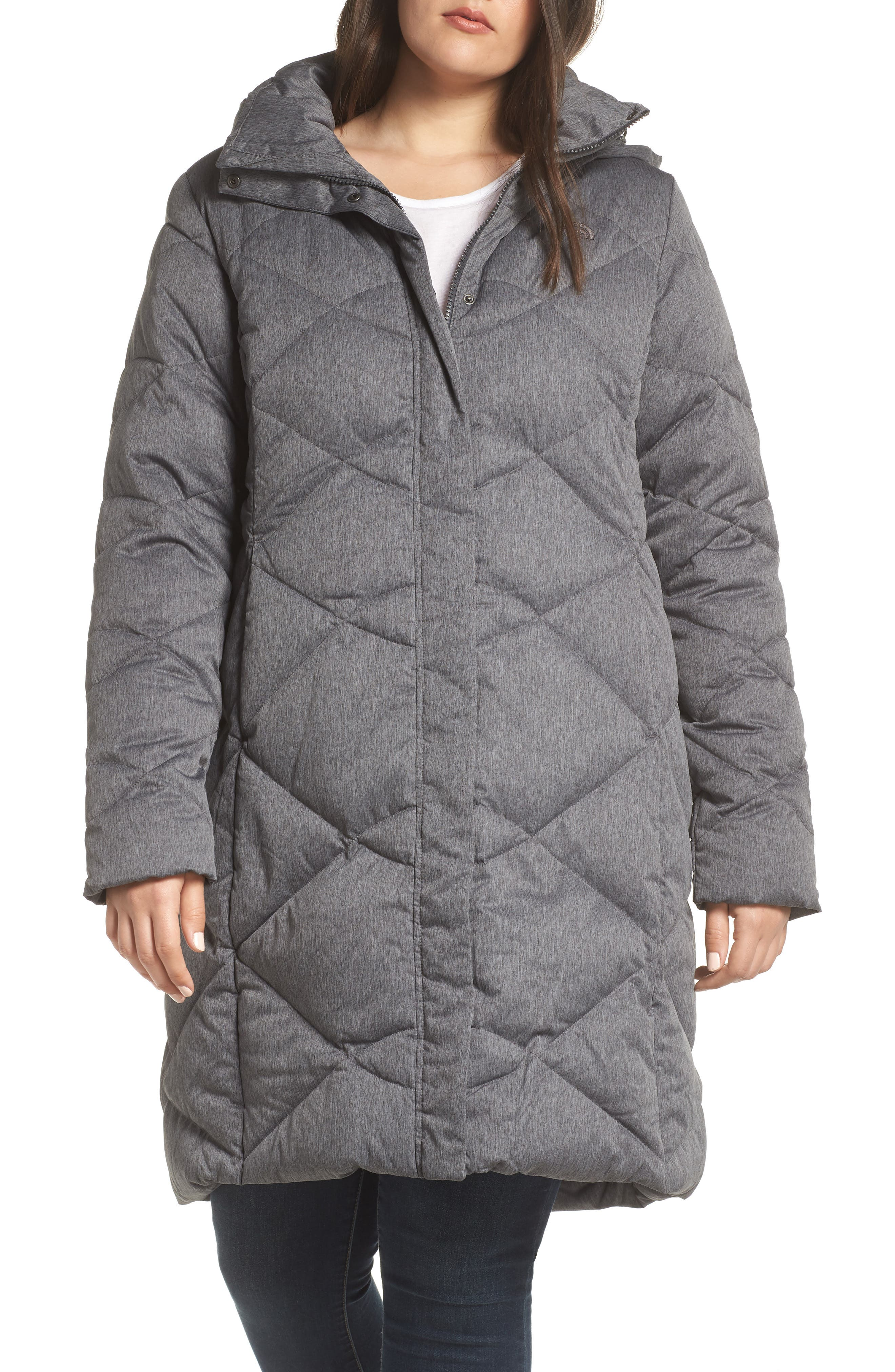 Miss Metro II Water Repellent 550 Fill Power Down Hooded Parka,                             Alternate thumbnail 2, color,                             TNF DARK GREY HEATHER