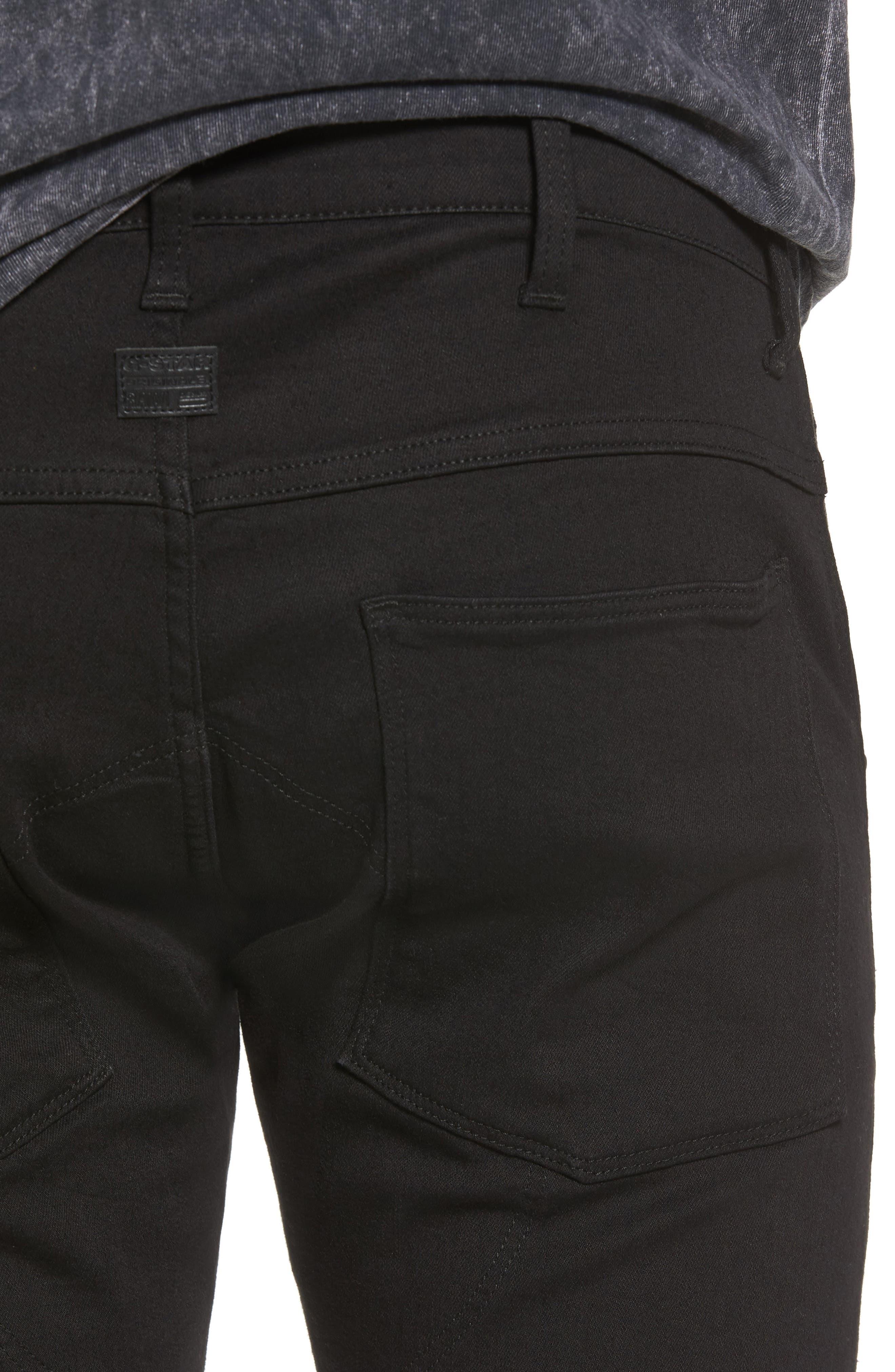 3D Zip Knee Super Slim Pants,                             Alternate thumbnail 4, color,                             001
