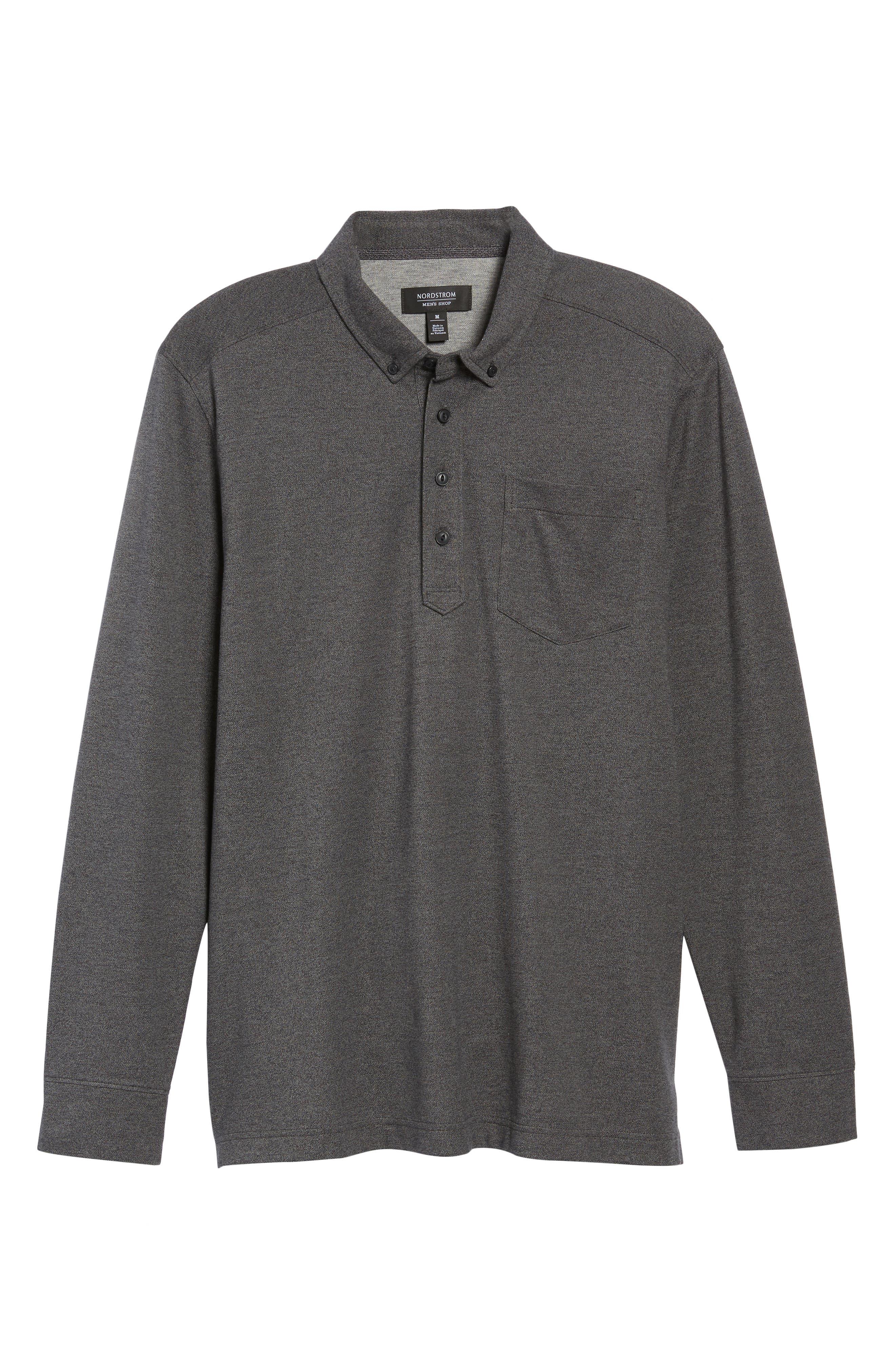 Long Sleeve Polo,                             Alternate thumbnail 6, color,                             BLACK CAVIAR MELANGE
