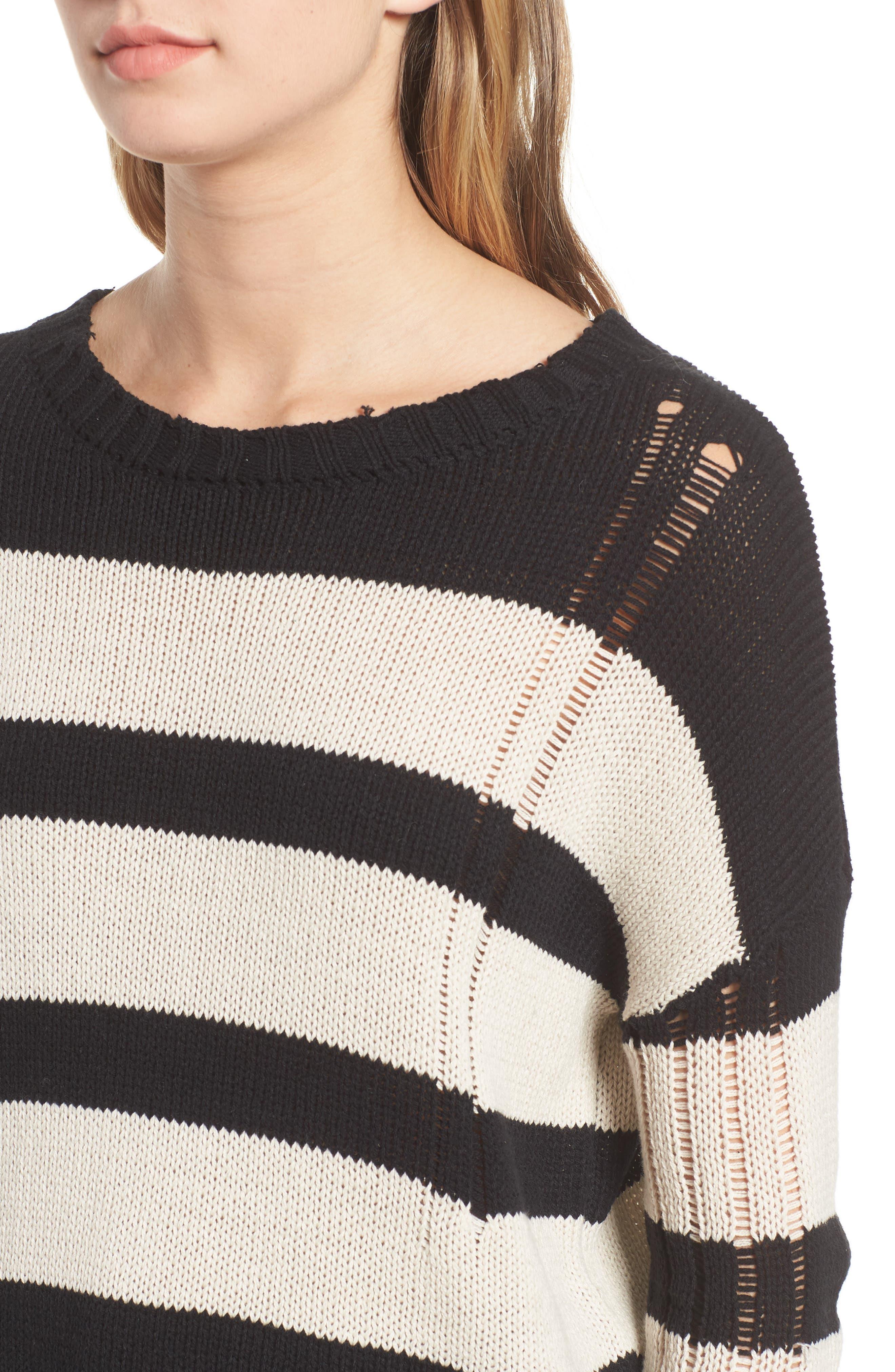 Tia Sweater,                             Alternate thumbnail 4, color,                             BLACK TAN STRIPE