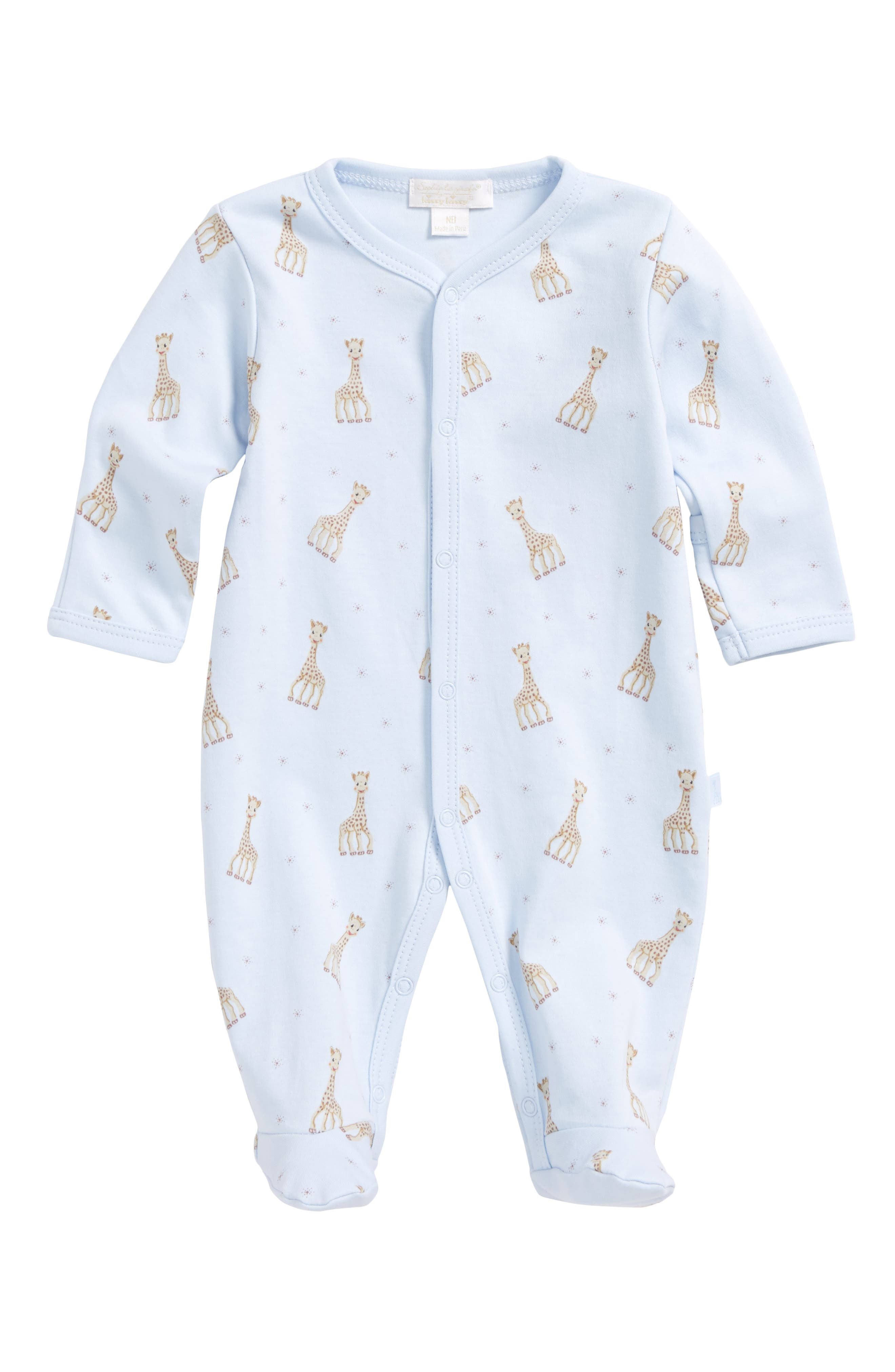x Sophie la Girafe Print Footie,                             Main thumbnail 1, color,                             LIGHT BLUE PRINT