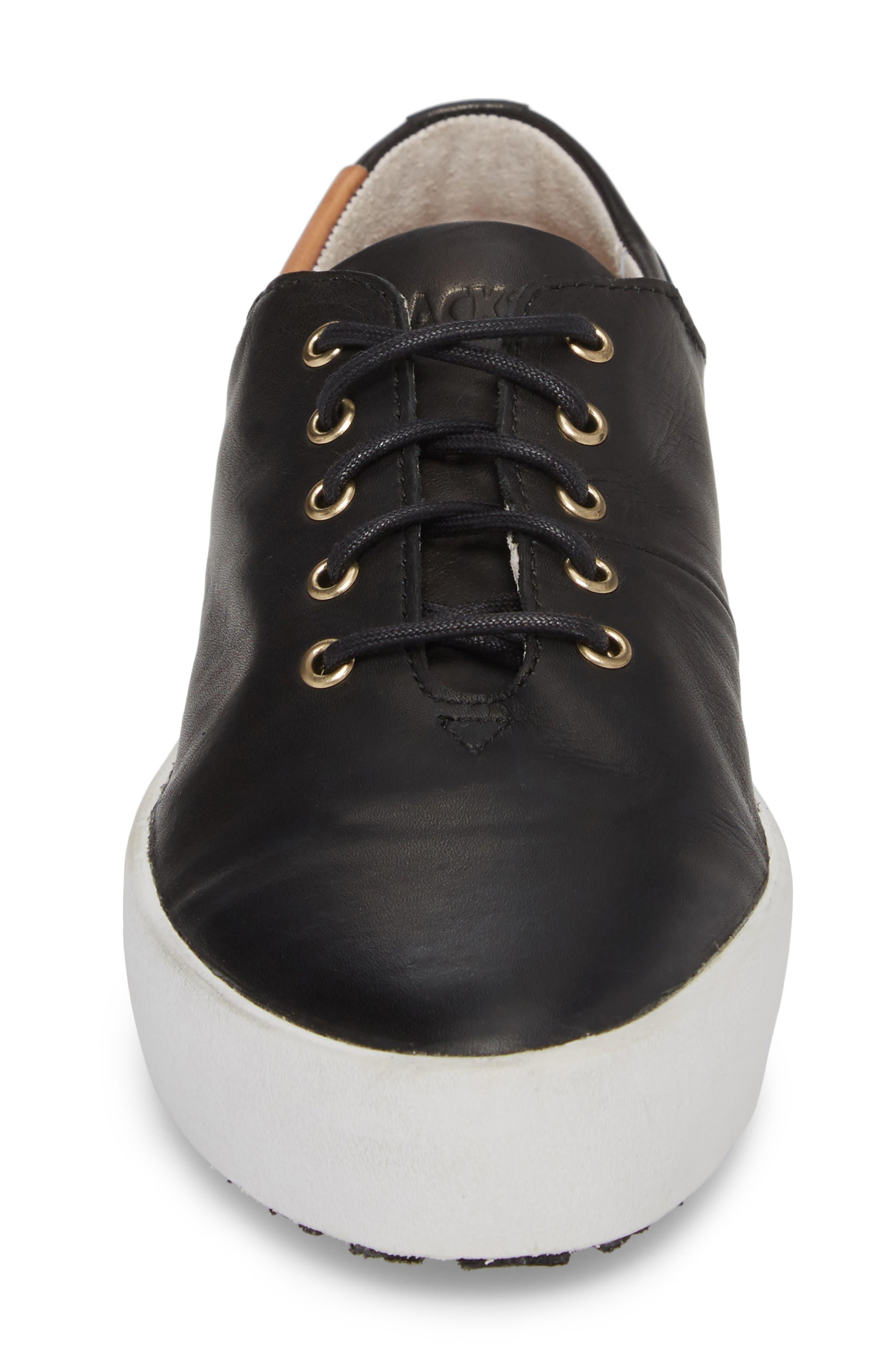 PL74 Sneaker,                             Alternate thumbnail 4, color,                             BLACK LEATHER