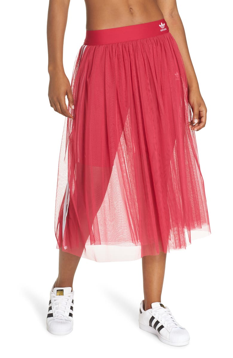 ADIDAS 3-Stripes Tulle Skirt, Main, color, PRIDE PINK