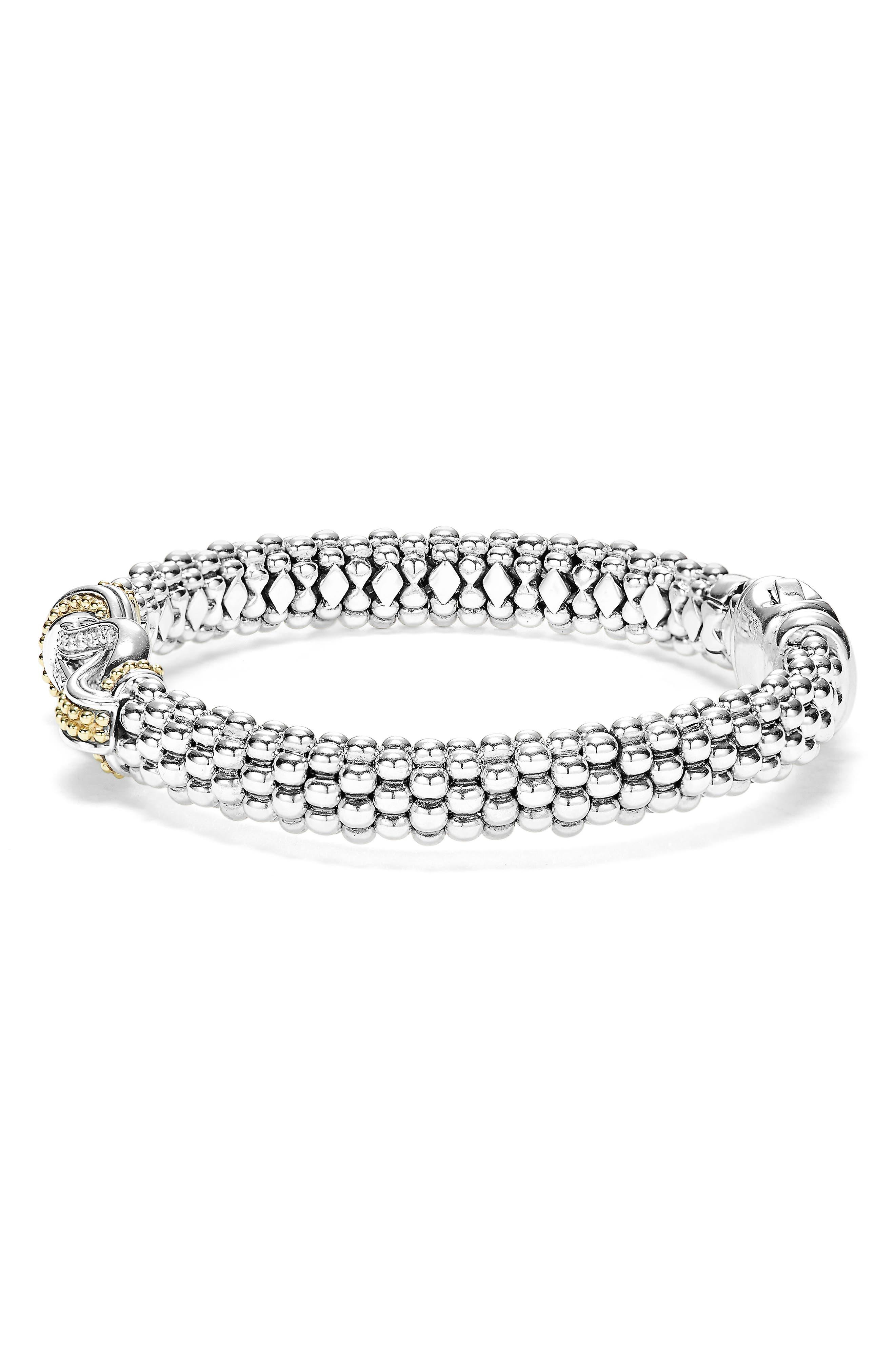 Caviar Newport Diamond Station Bracelet,                             Alternate thumbnail 3, color,                             SILVER/ GOLD