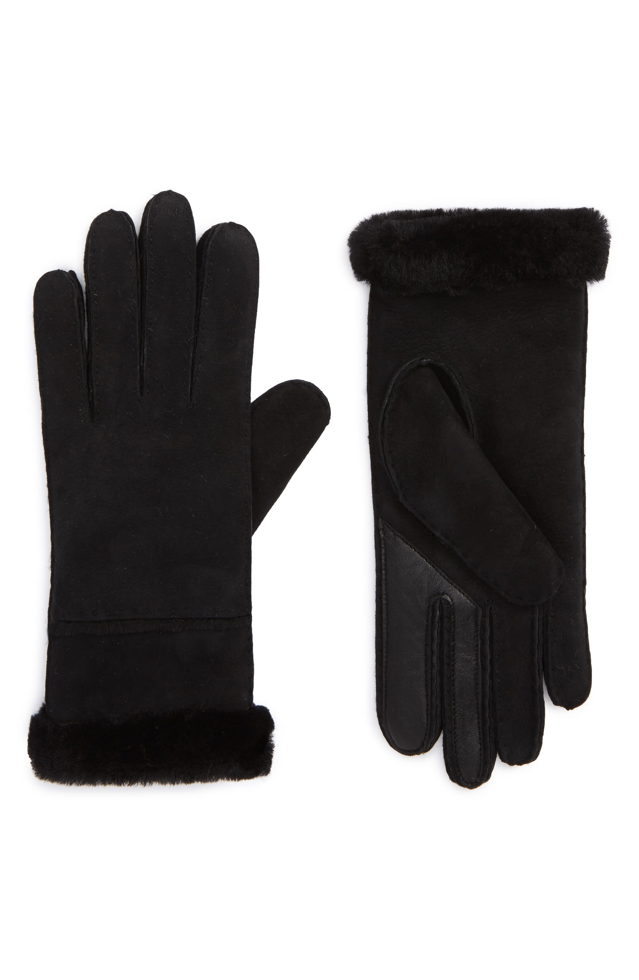 UGG<sup>®</sup> Slim Genuine Shearling Tech Gloves,                         Main,                         color, 001