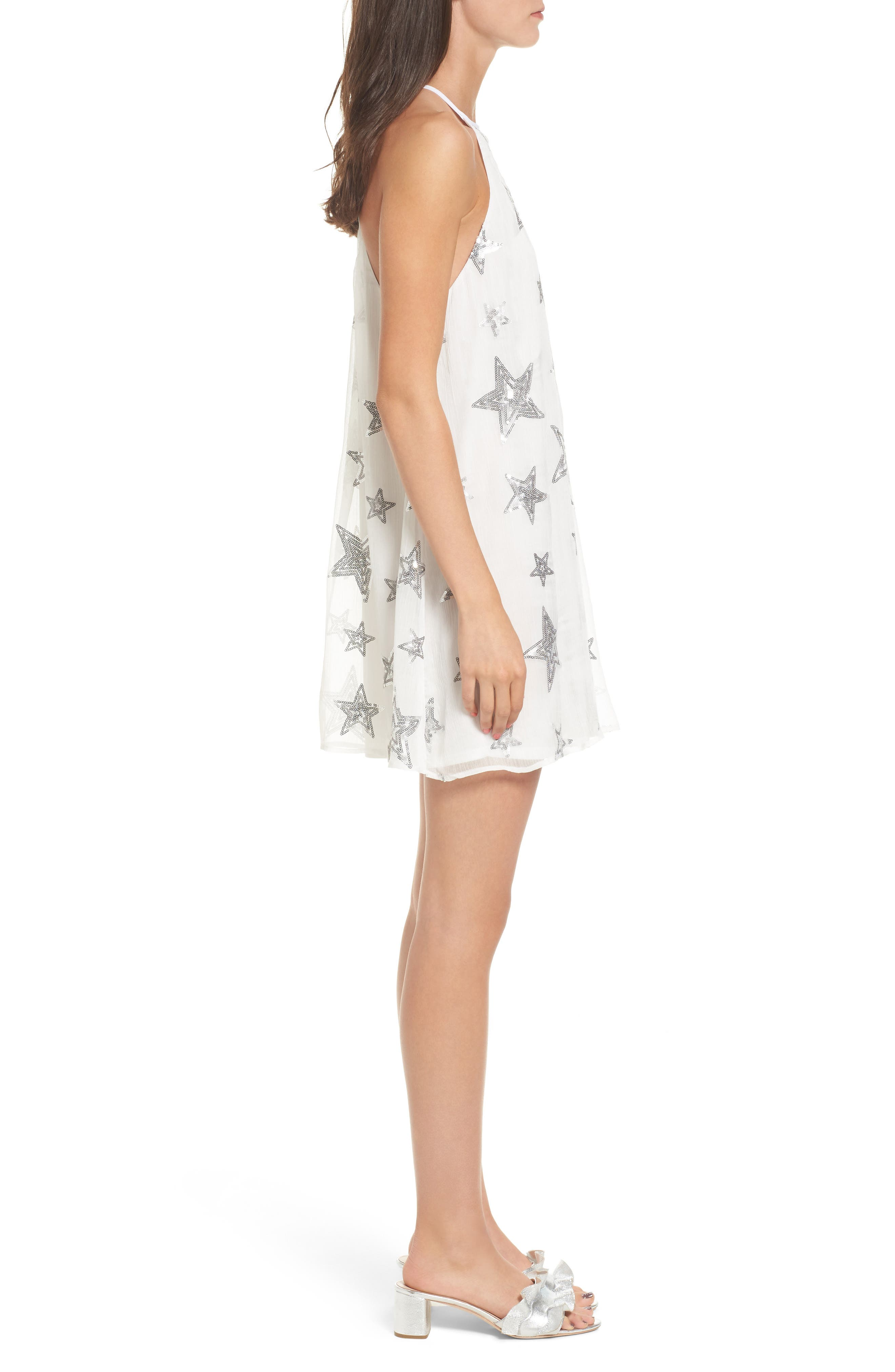 Gomez Embroidered Shift Dress,                             Alternate thumbnail 3, color,                             100