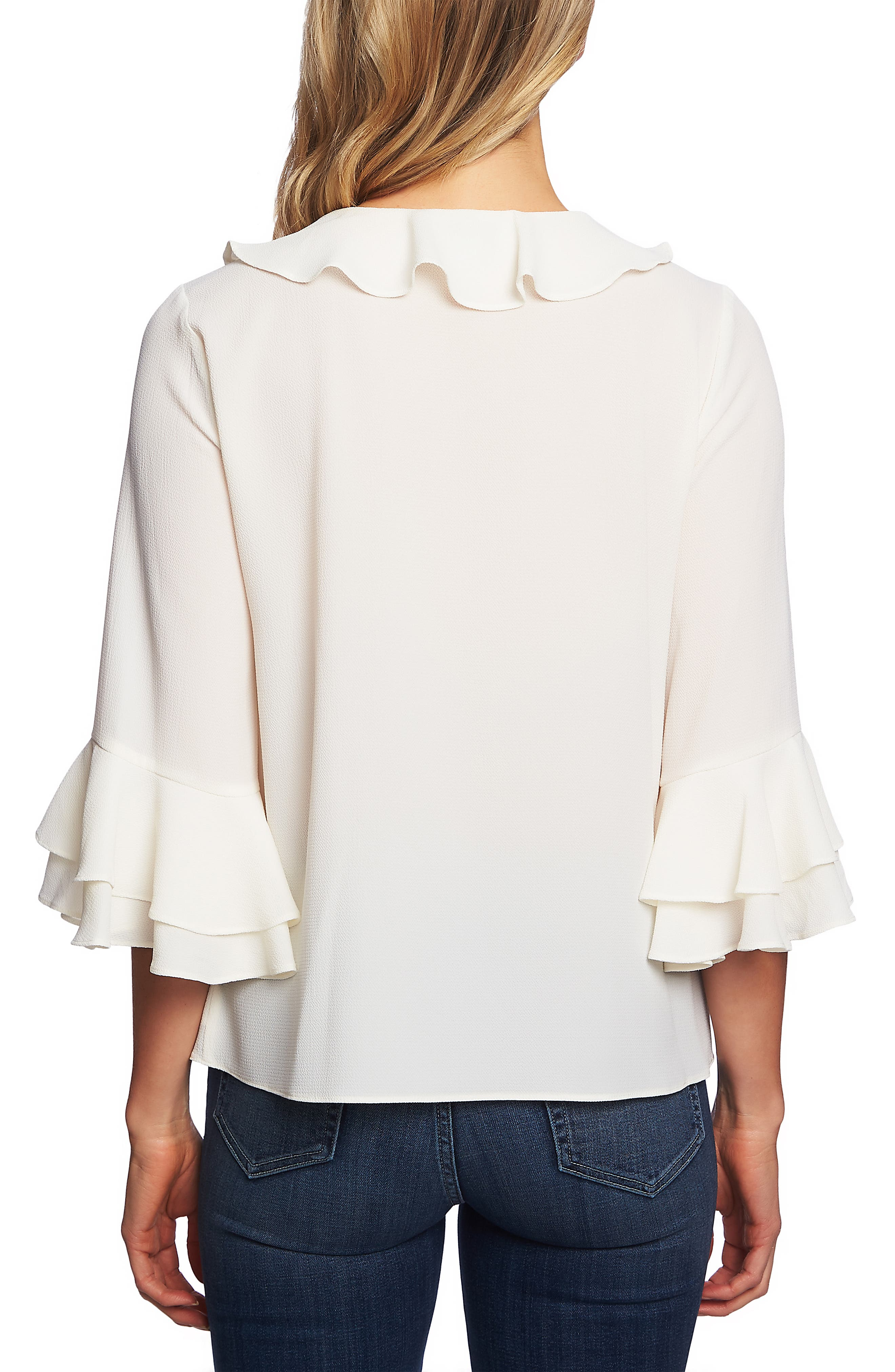 Tiered Sleeve Ruffle Blouse,                             Alternate thumbnail 2, color,                             ANTIQUE WHITE