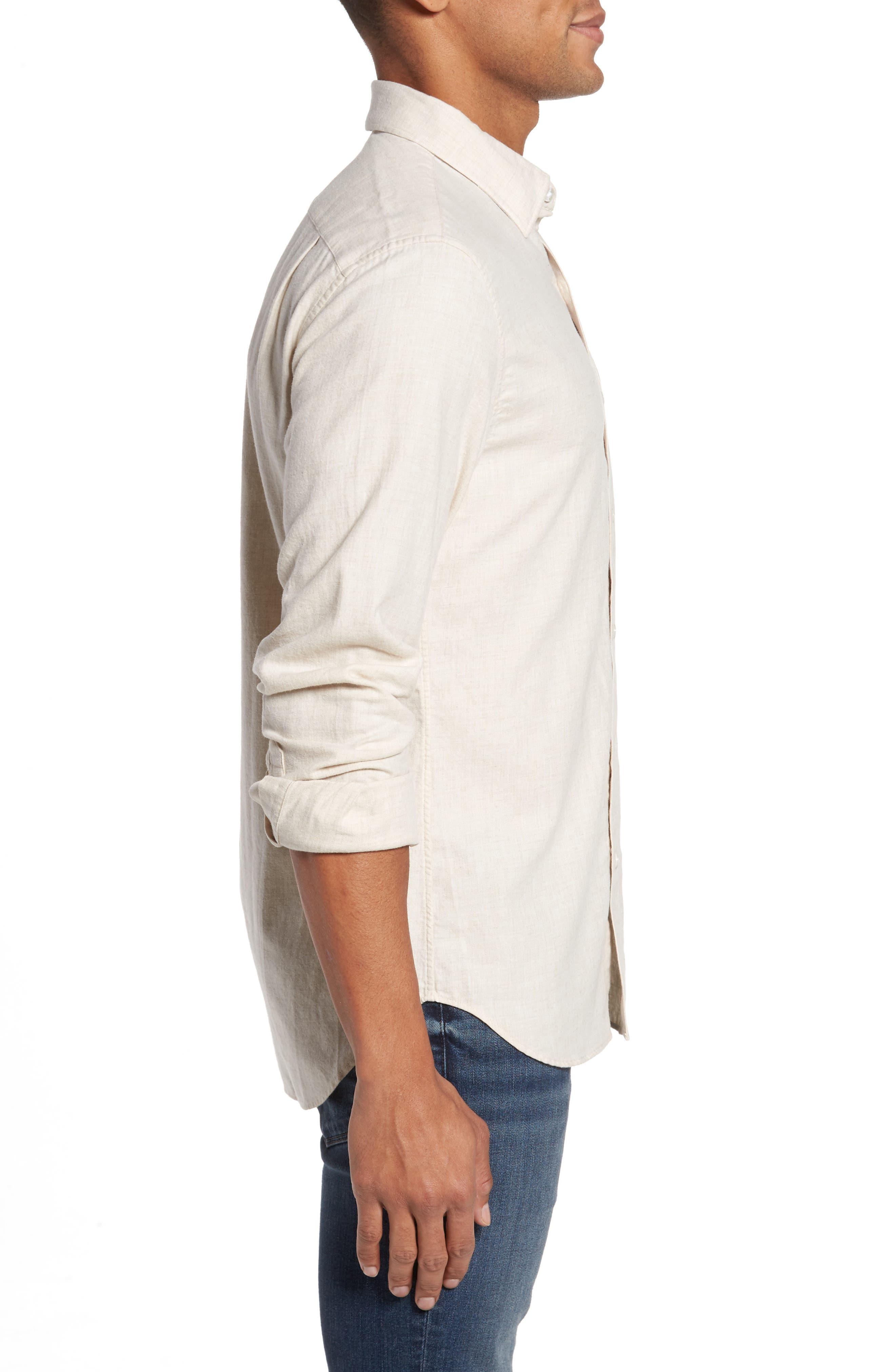 Slim Fit Brushed Twill Sport Shirt,                             Alternate thumbnail 3, color,