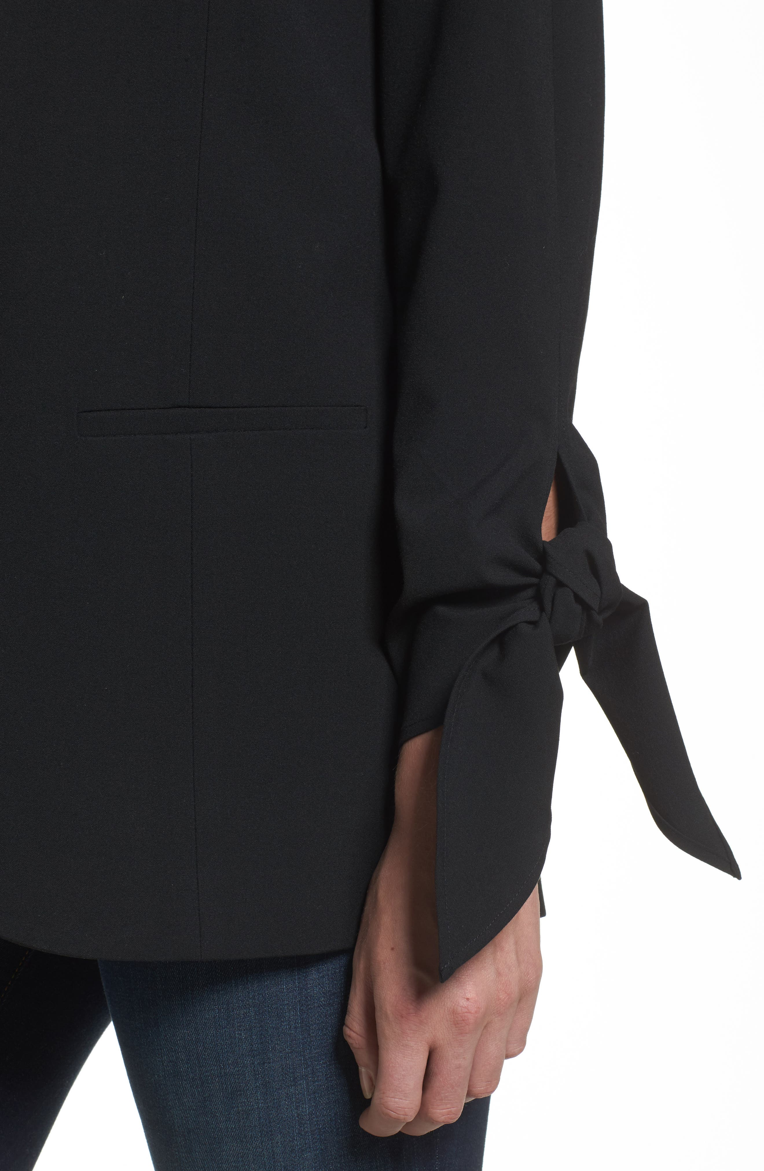Tie Sleeve Blazer,                             Alternate thumbnail 4, color,                             001